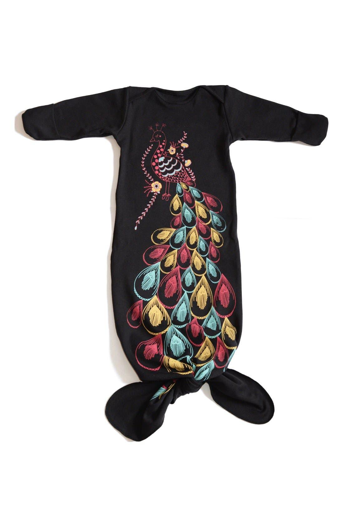 Main Image - Electrik Kidz 'Peacock' Organic Cotton Gown (Baby Girls)