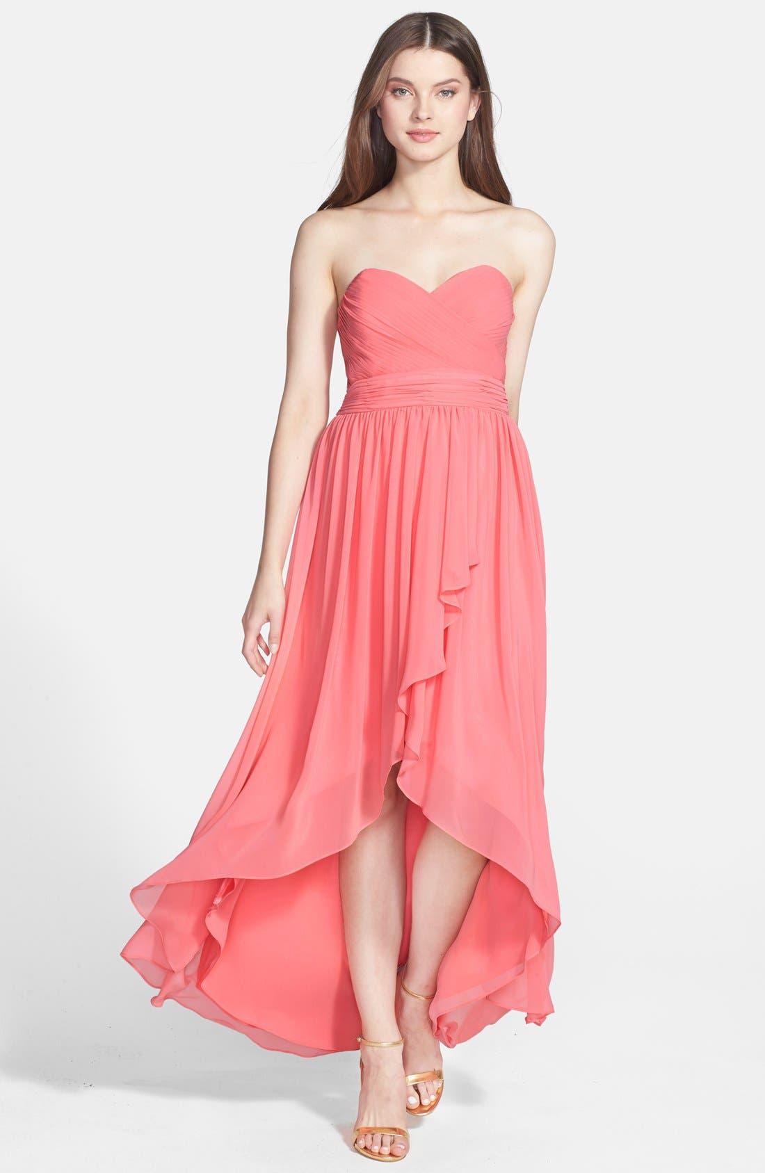 Alternate Image 1 Selected - Eliza J High/Low Chiffon Faux Wrap Long Dress