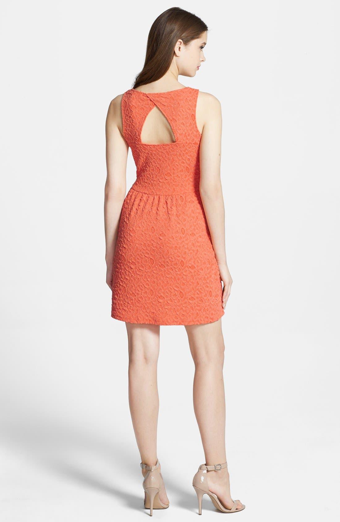 Alternate Image 2  - Olive & Oak Back Cutout Textured Lace Fit & Flare Dress