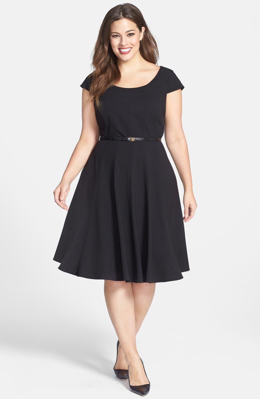 Alternate Image 1 Selected - Calvin Klein Cap Sleeve Fit & Flare Dress (Plus Size)