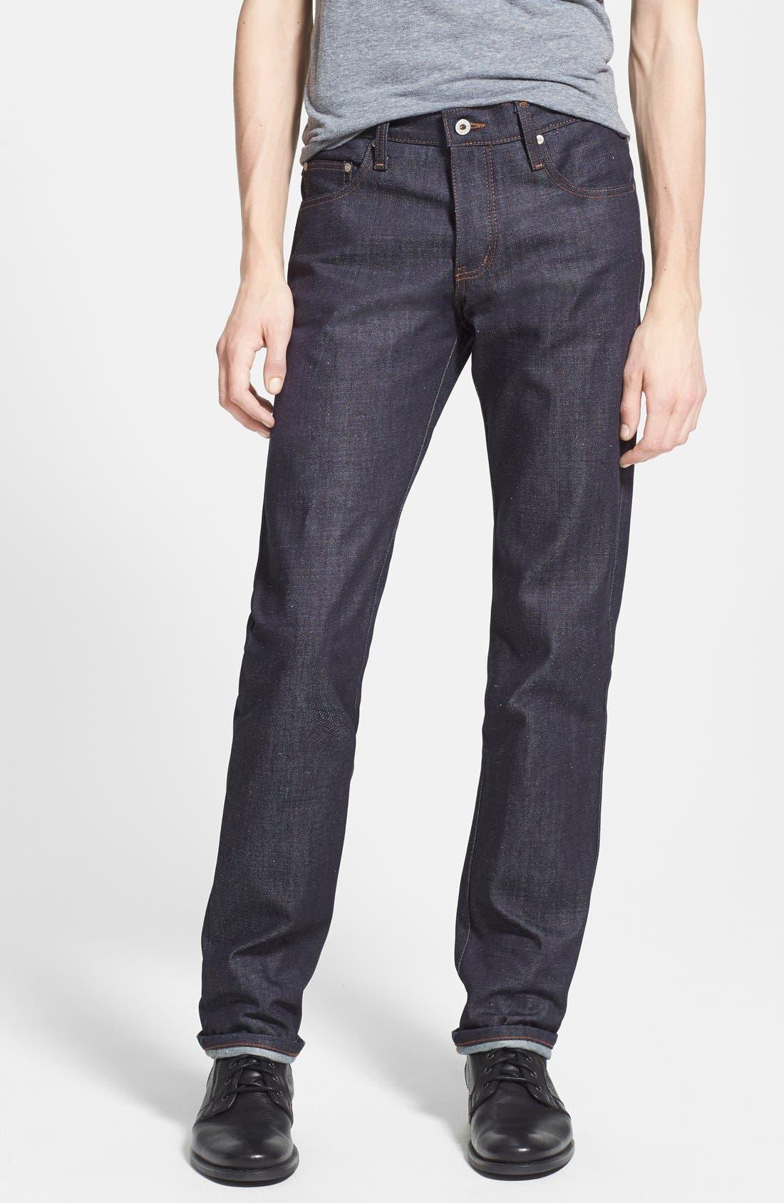 Main Image - Naked & Famous Denim 'Slim Guy' Straight Leg Jeans (Indigo) (Online Only)