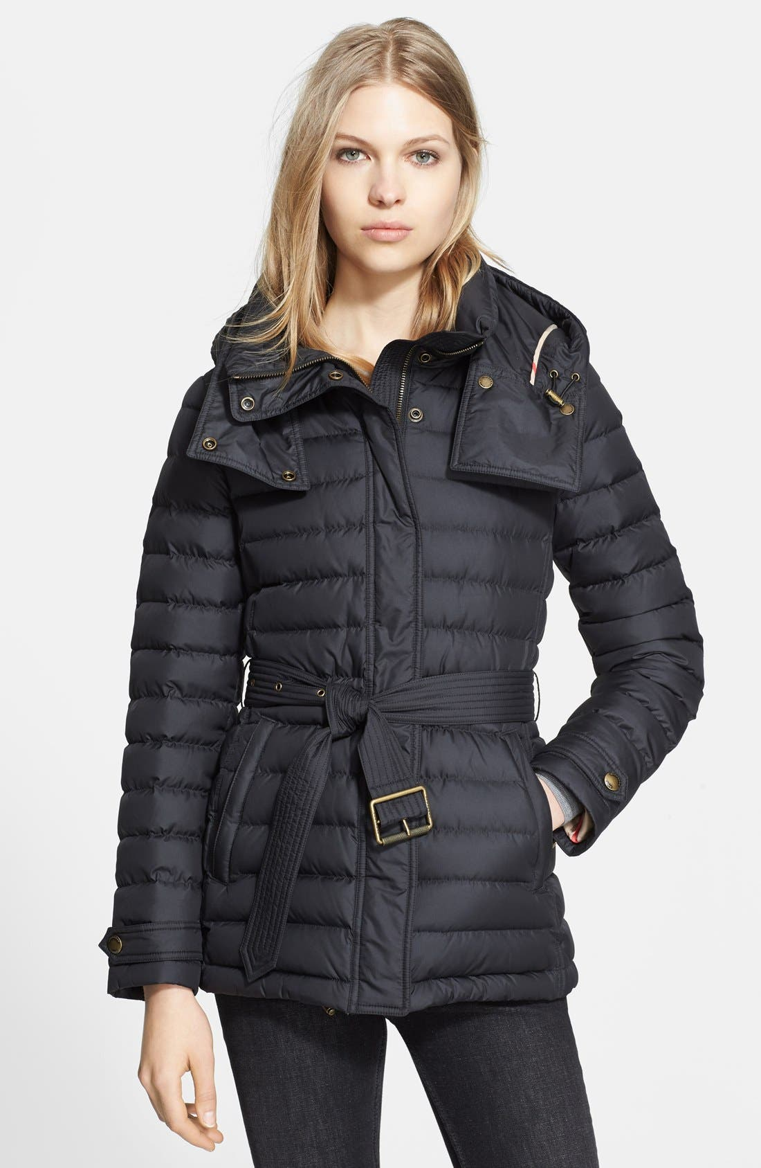 Main Image - Burberry Brit 'Cornsdale' Channel Quilt Down Jacket with Hood
