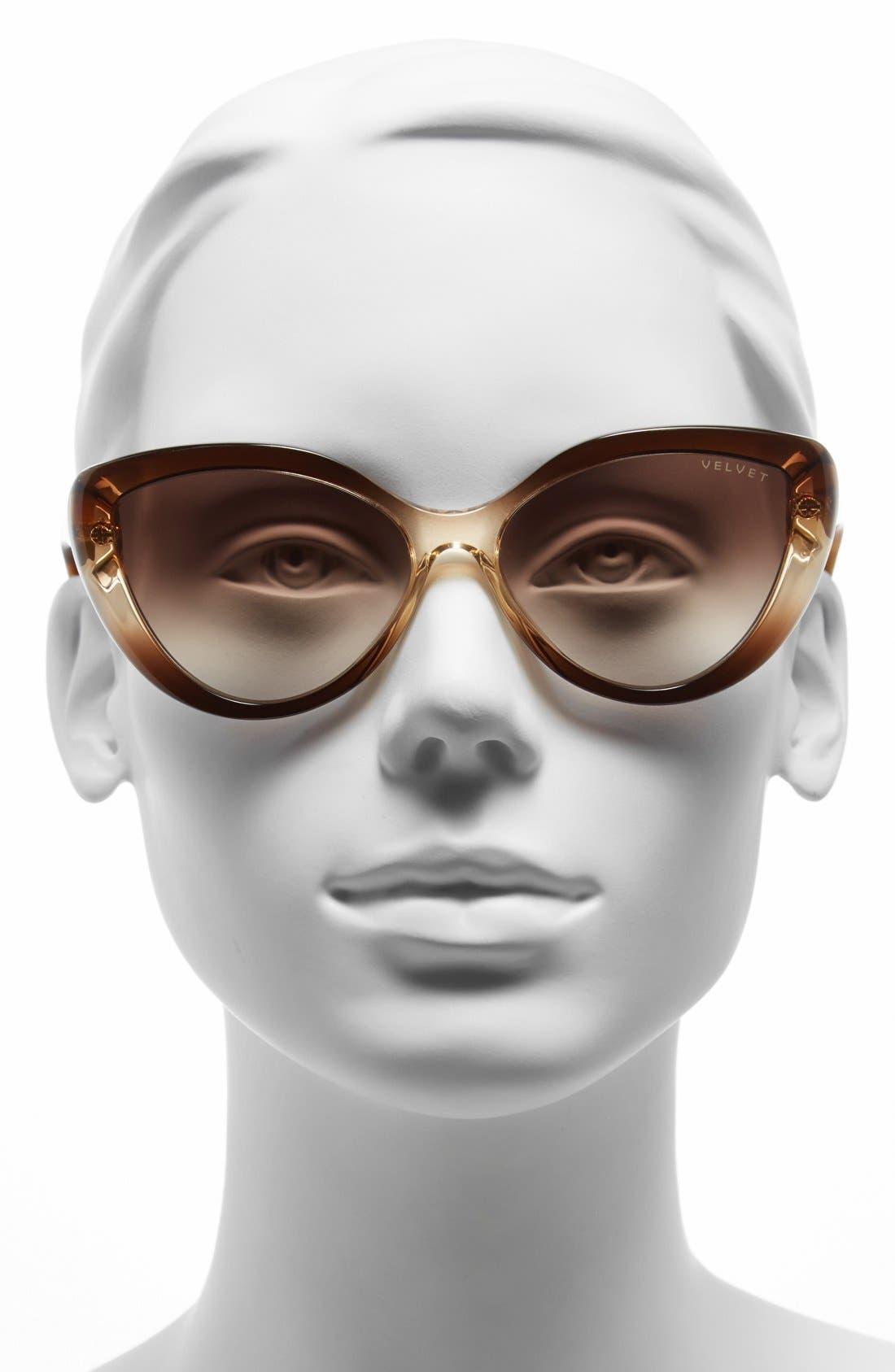 Alternate Image 2  - Velvet Eyewear 'Joie' 55mm Cat Eye Sunglasses