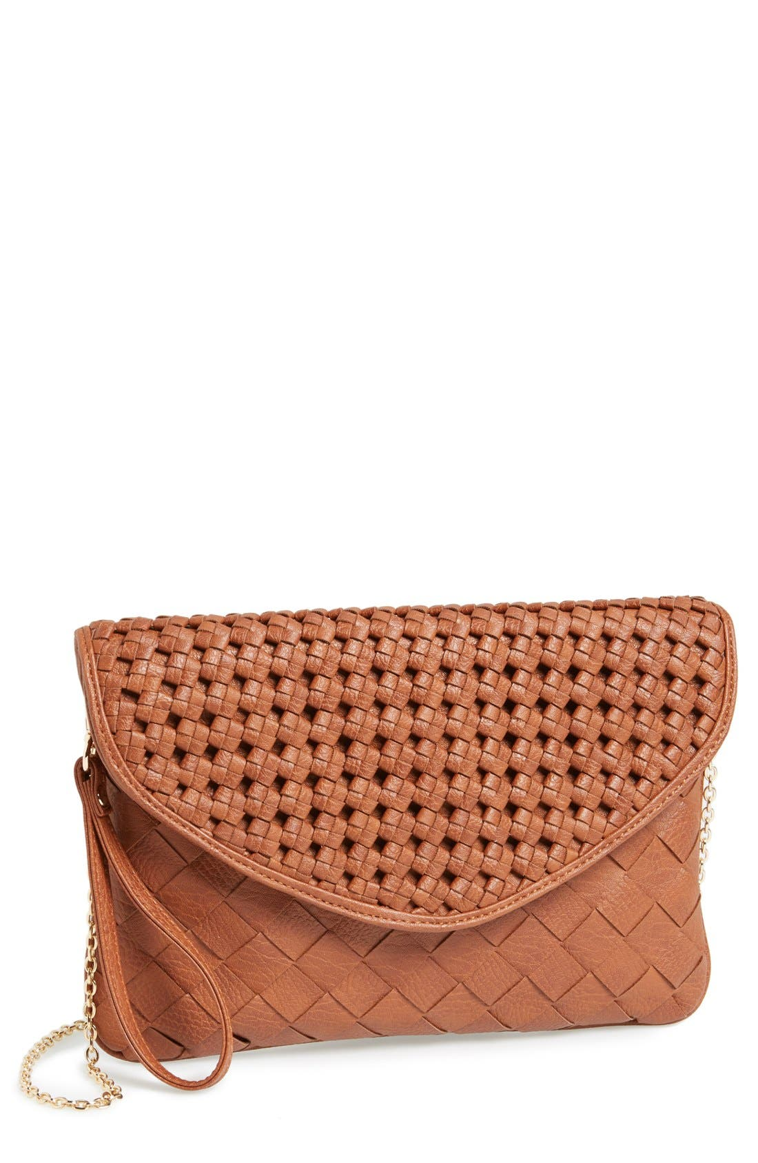 Main Image - Sole Society 'Chloe' Woven Faux Leather Clutch