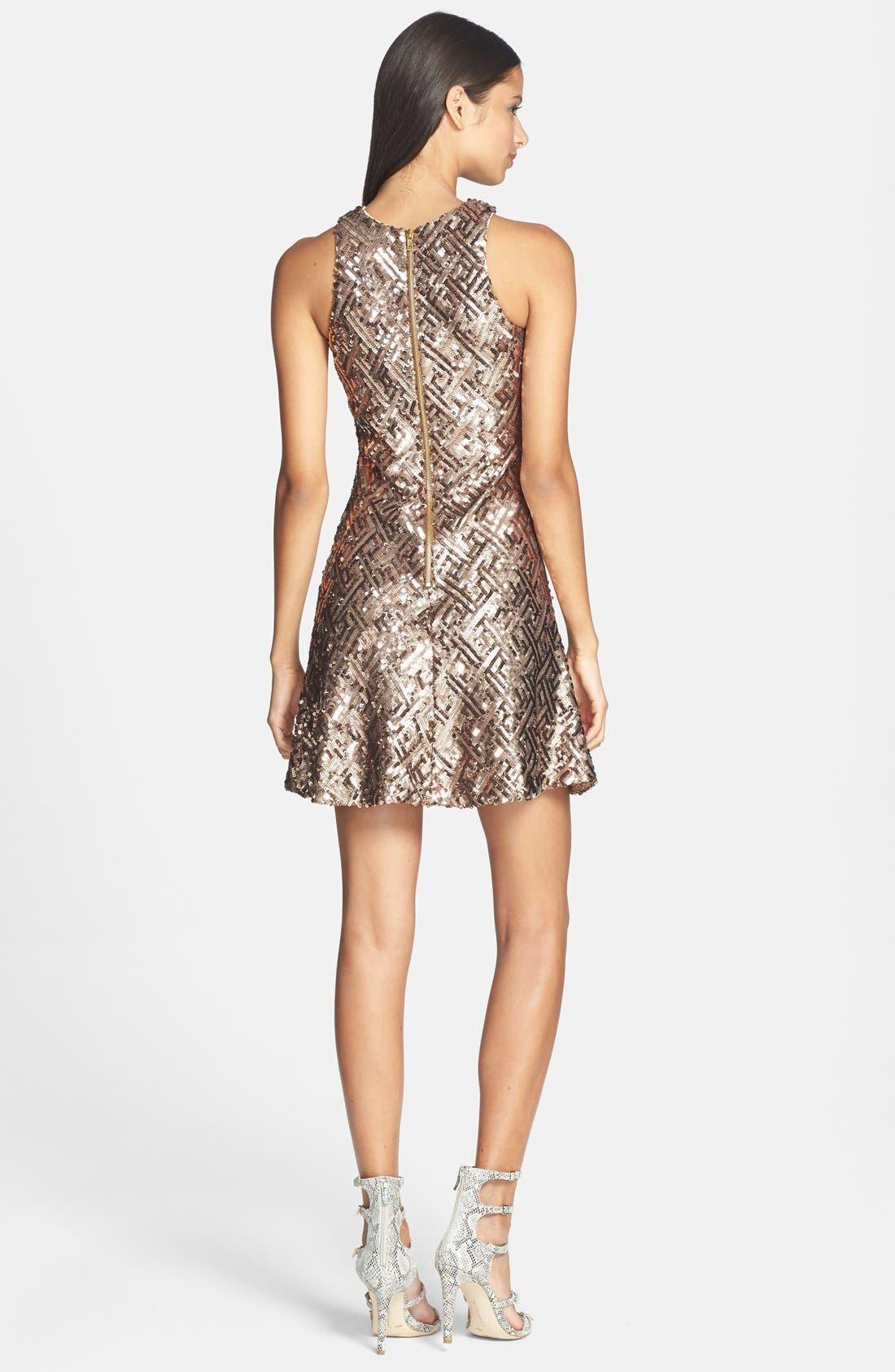 Alternate Image 2  - Dress the Population 'Mia' Sequin Cutaway Fit & Flare Dress