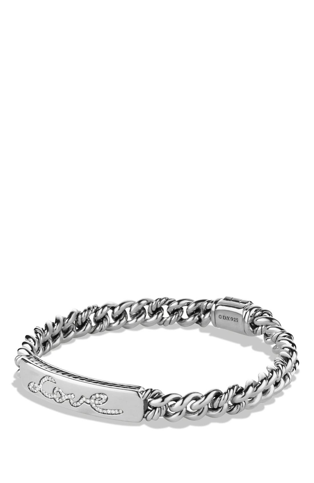 David Yurman 'Petite Pavé' Love ID Bracelet with Diamonds