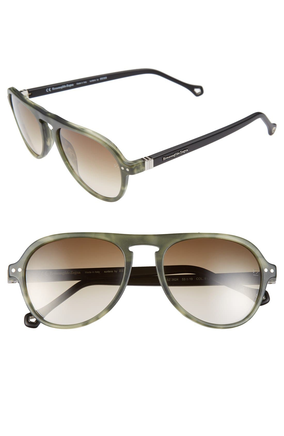 Alternate Image 1 Selected - Ermenegildo Zegna 53mm Aviator Sunglasses