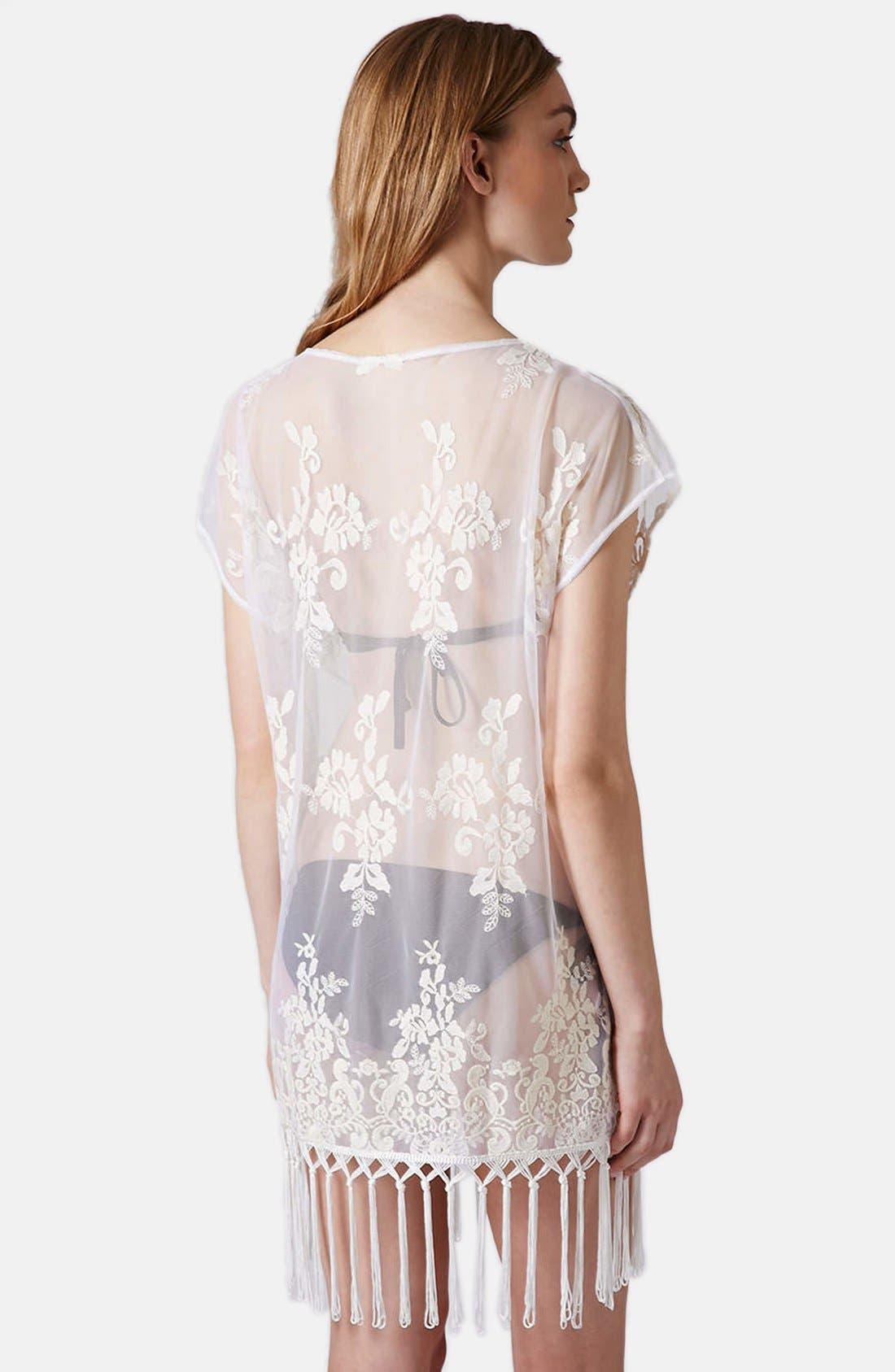 Alternate Image 2  - Topshop Floral Lace Fringe Tee