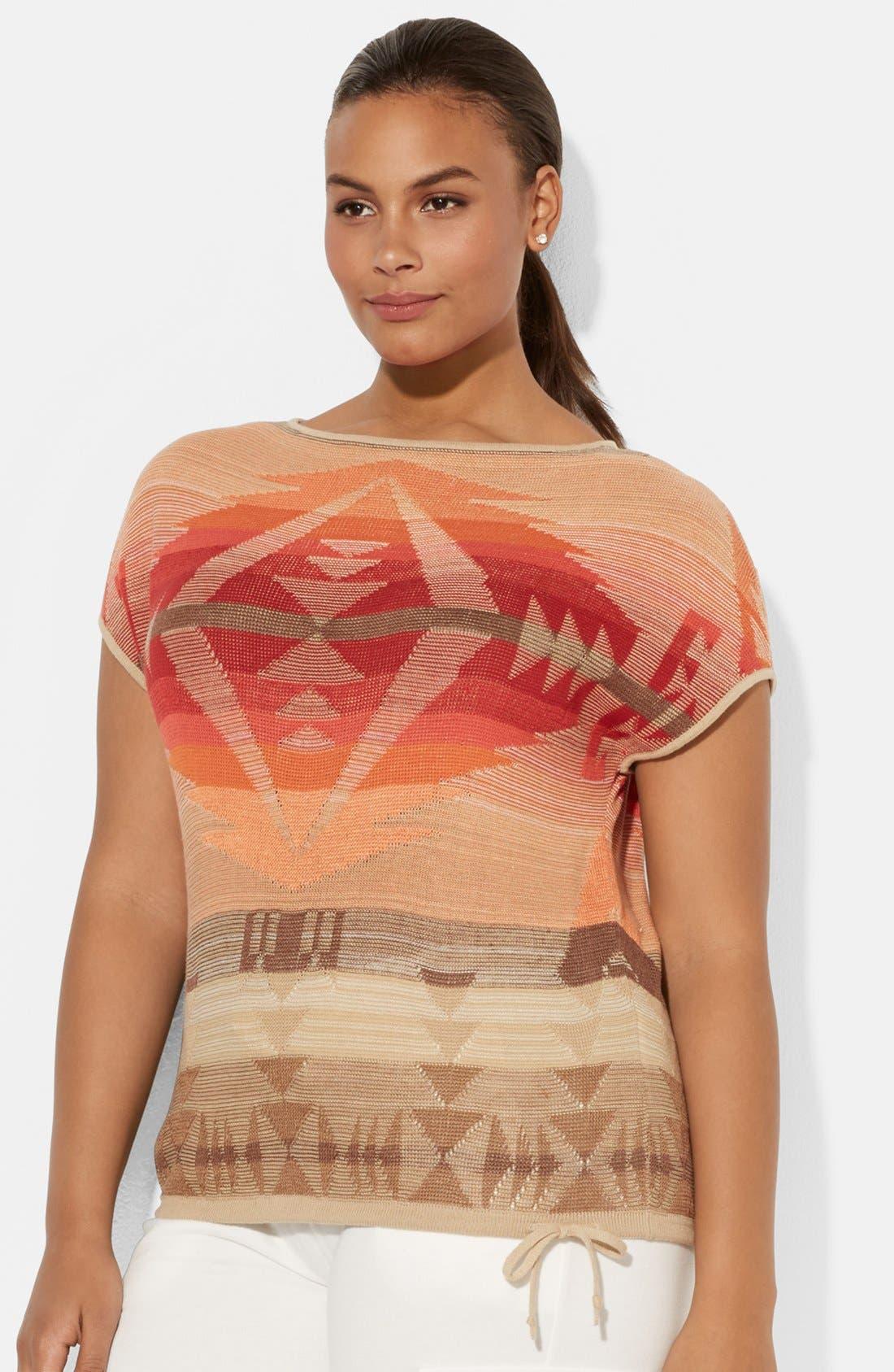 Main Image - Lauren Ralph Lauren Tie Waist Cotton & Linen Boatneck Sweater (Plus Size)