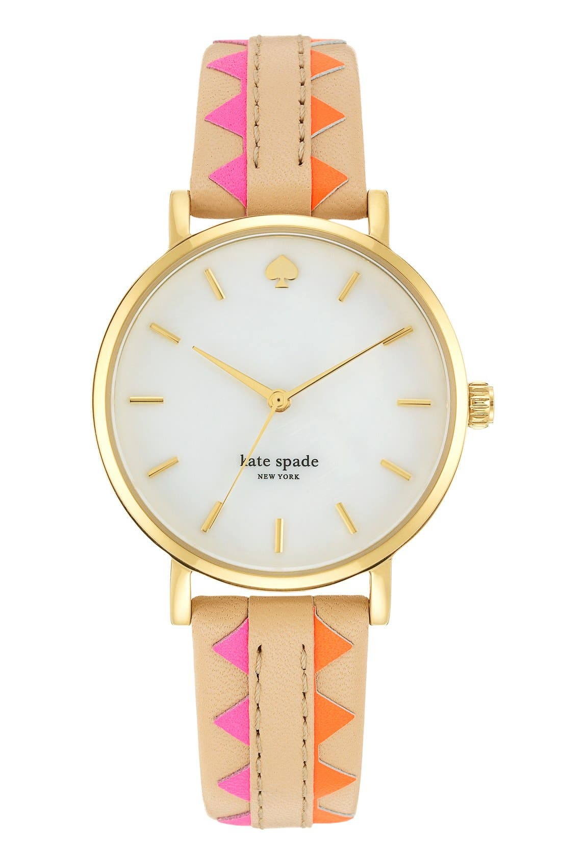 Main Image - kate spade new york 'metro' geo print leather strap watch, 34mm