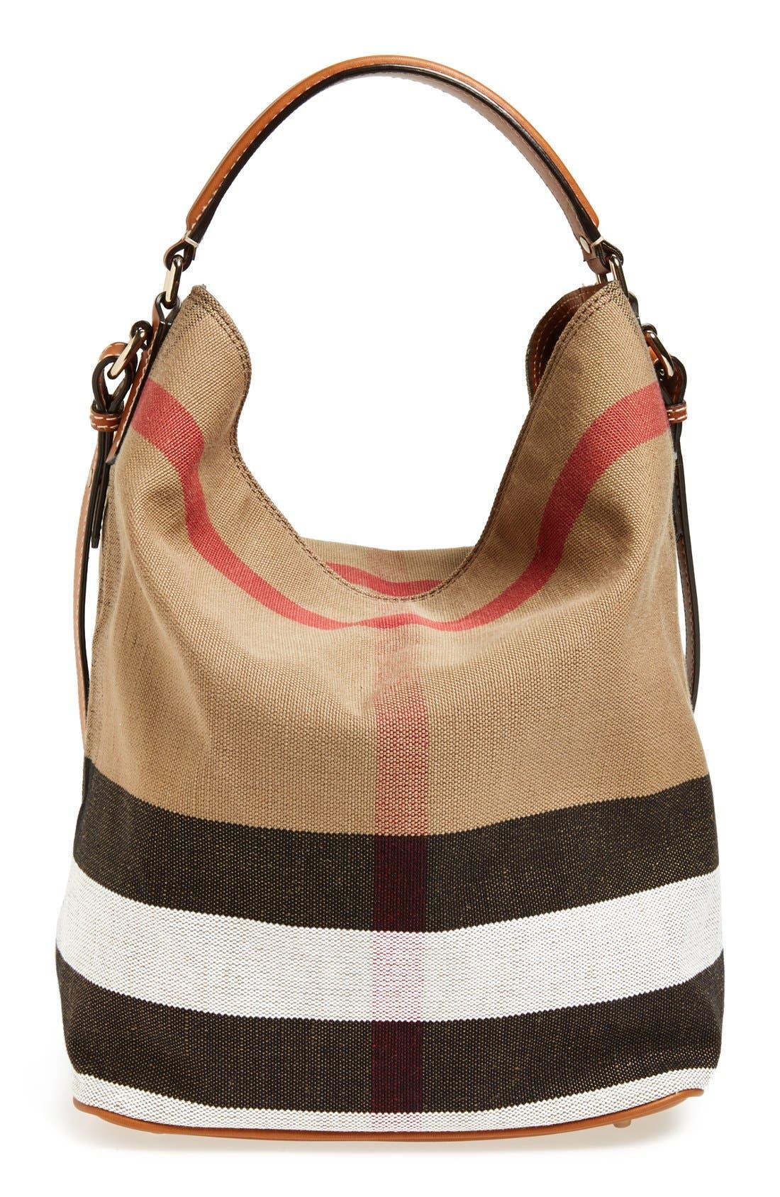 Alternate Image 1 Selected - Burberry Medium Ashby Check Print Bucket Bag