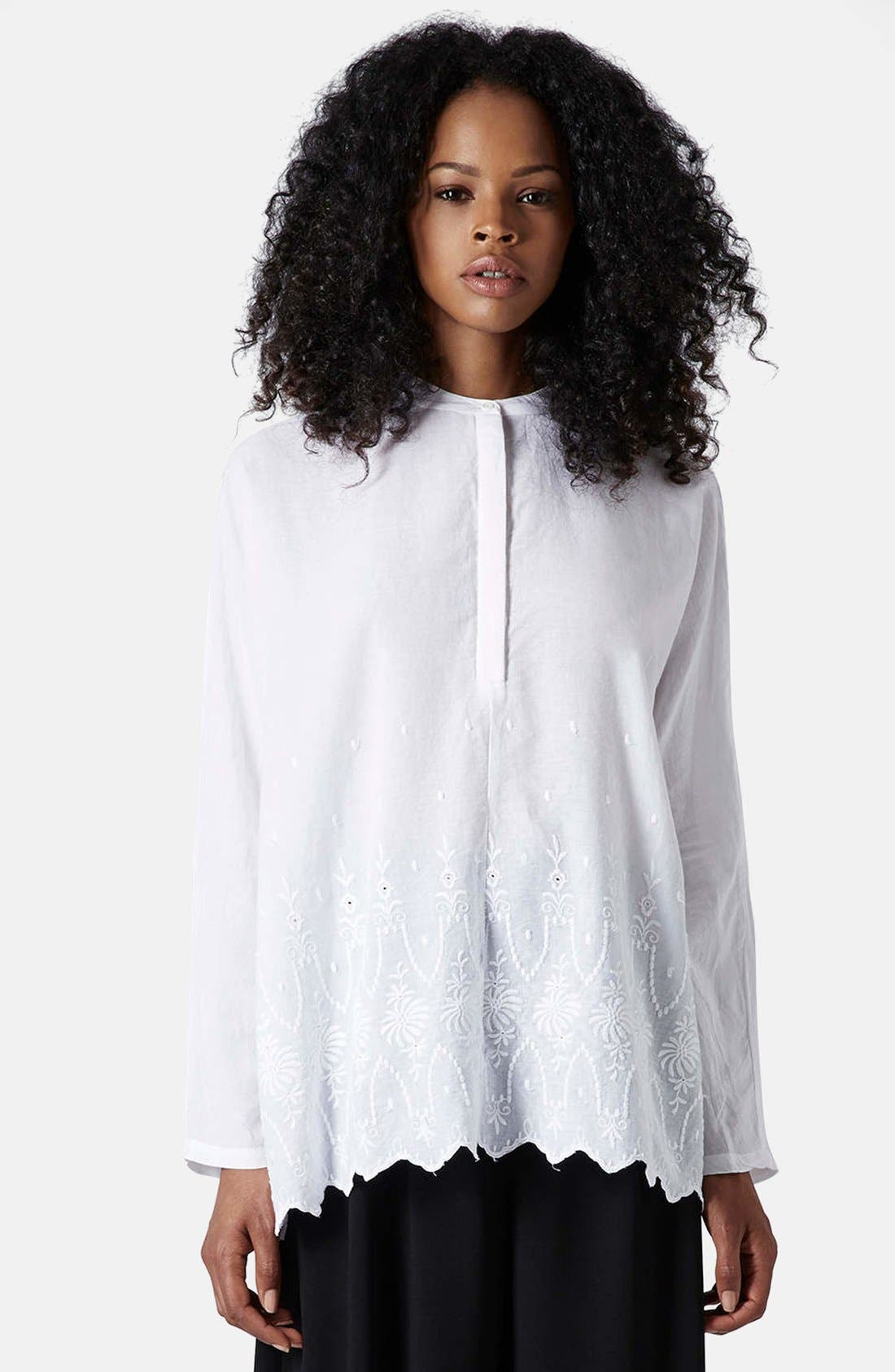 Main Image - Topshop Embroidered Oversized Shirt