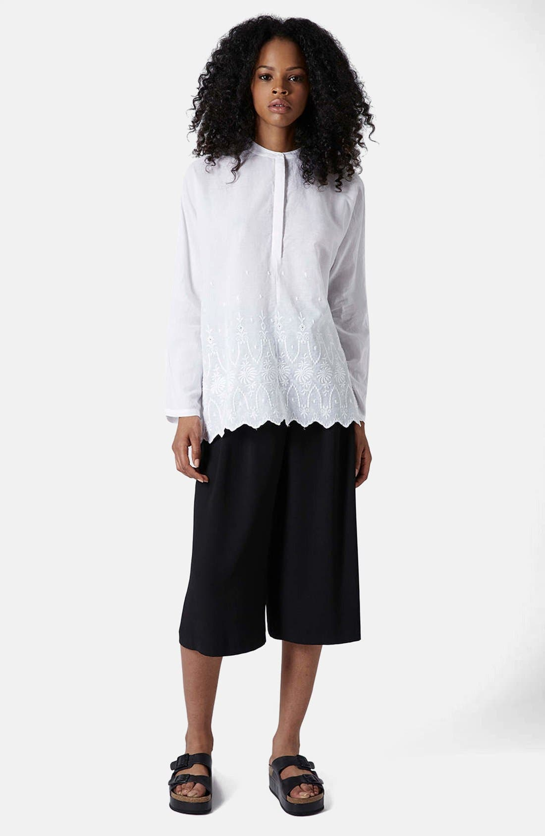 Alternate Image 5  - Topshop Embroidered Oversized Shirt