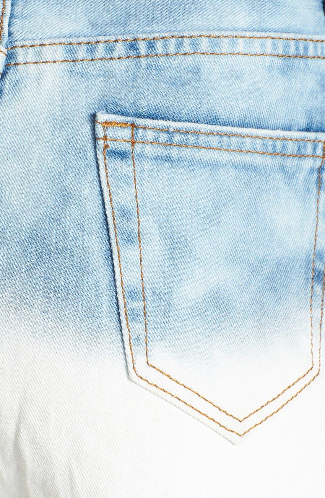 Alternate Image 3  - Glamorous High Rise Cutoff Denim Shorts (Blue Dip Dye)