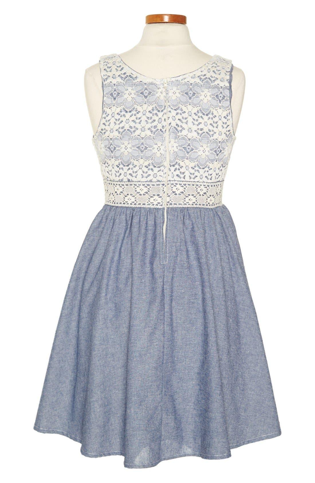 Alternate Image 2  - Zunie Lace Chambray Dress (Big Girls)
