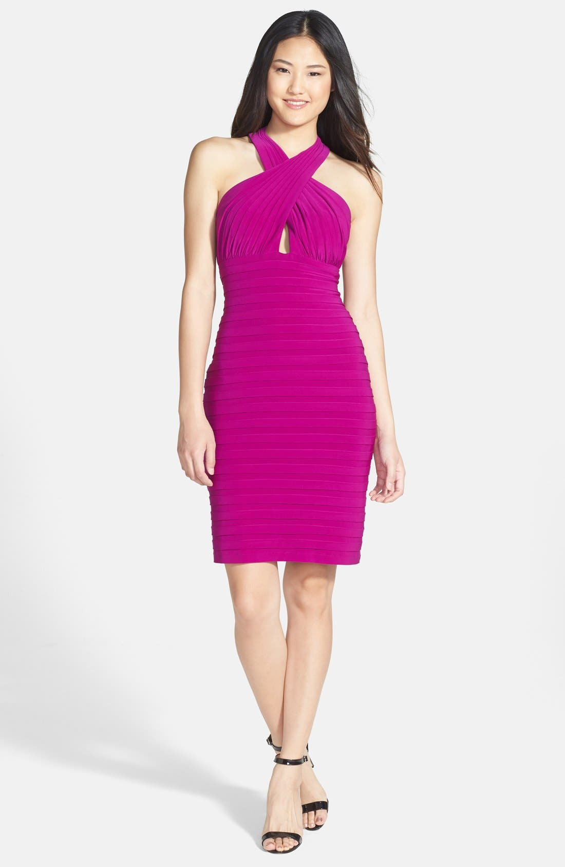 Alternate Image 3  - Xscape Shutter Pleated Jersey Sheath Dress
