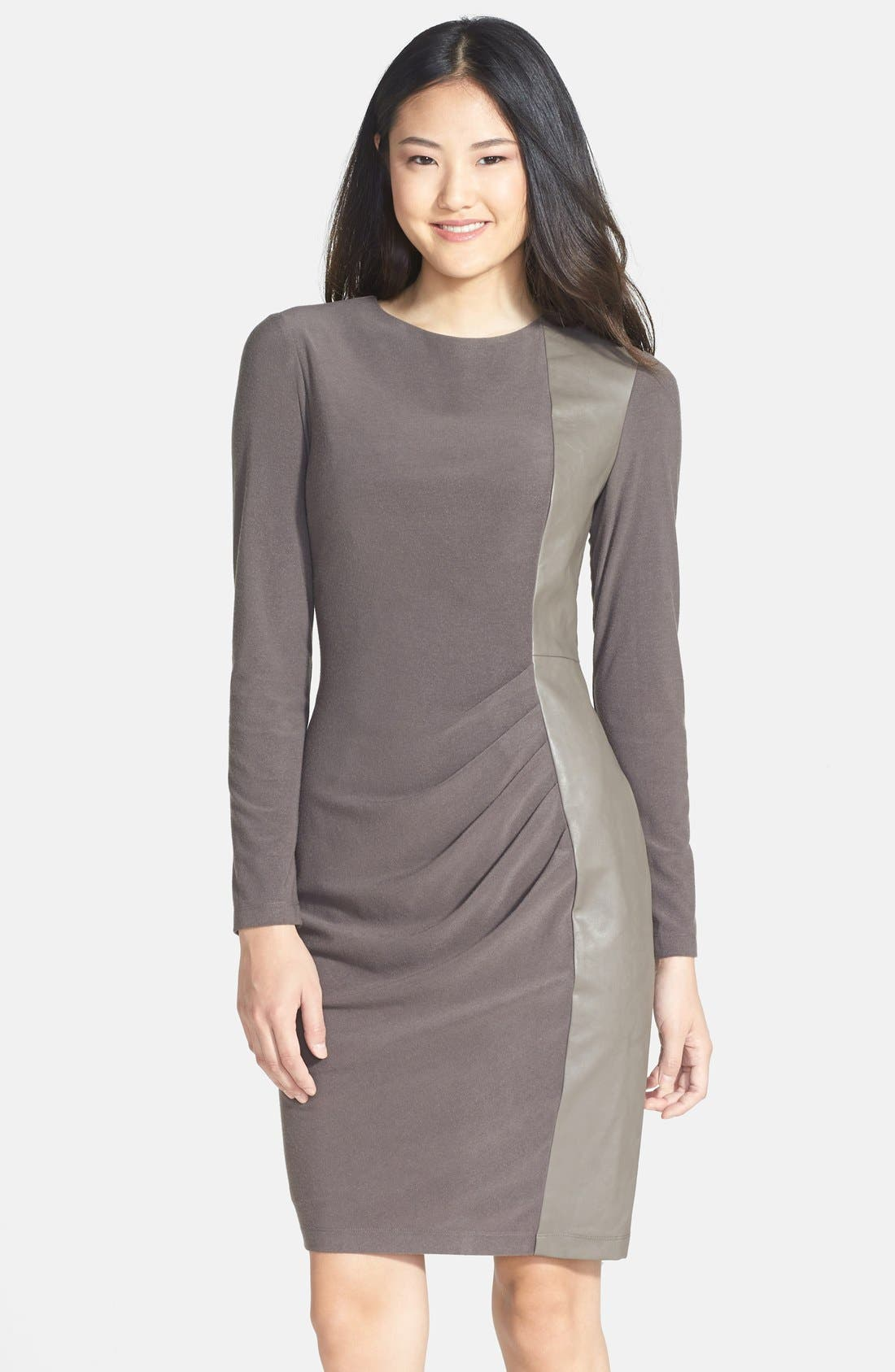 Main Image - Vince Camuto Faux Leather Panel Ponte Sheath Dress (Regular & Petite)