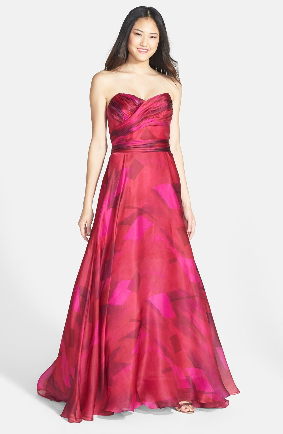 Main Image - Mikael Aghal Ruched Silk Organza Strapless Gown