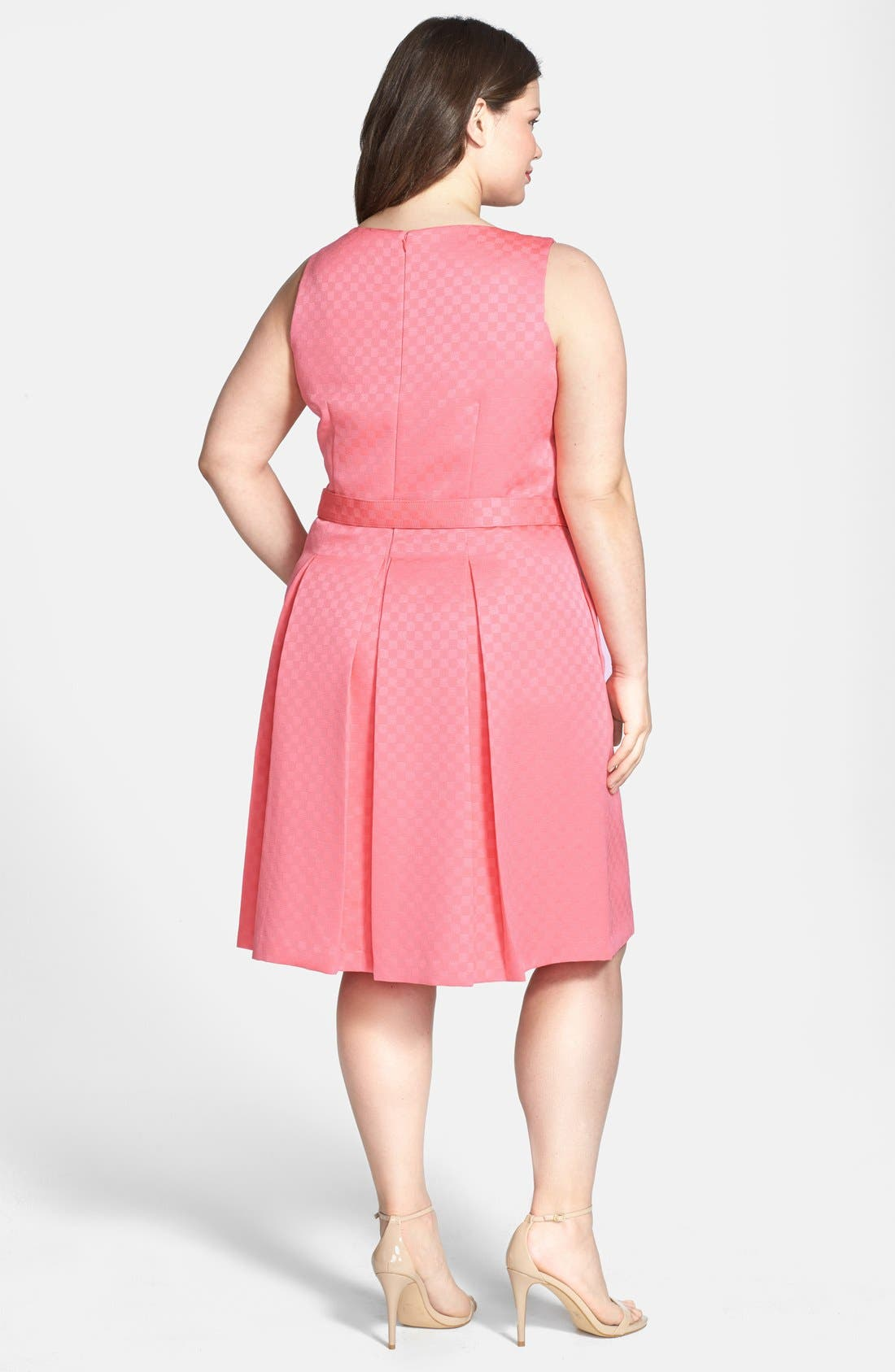 Alternate Image 2  - Tahari by ASL Belted Jacquard Pleat Fit & Flare Dress (Plus Size)