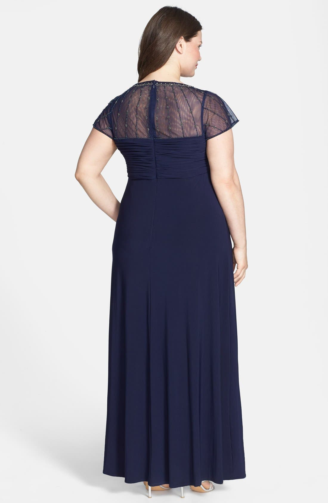 Alternate Image 2  - Patra Beaded Illusion Top Matte Jersey Gown (Plus Size)