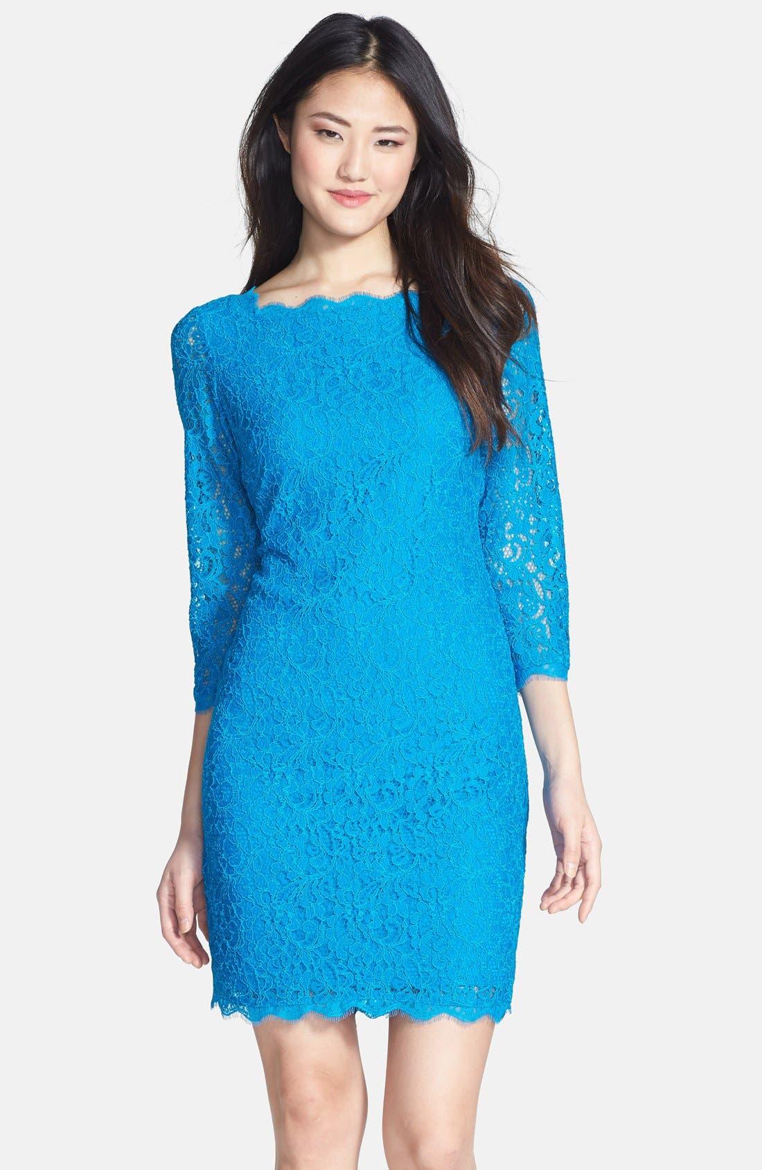 Alternate Image 1 Selected - Adrianna Papell Lace Overlay Sheath Dress (Regular & Petite)