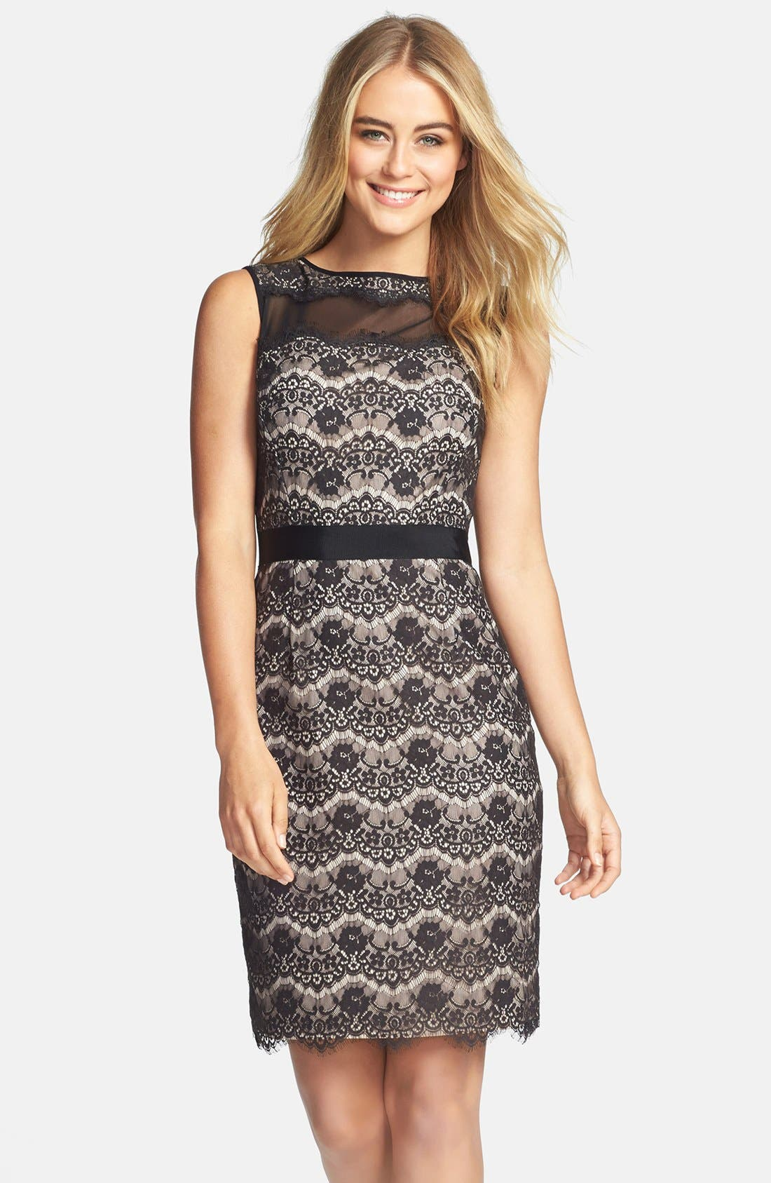 Alternate Image 1 Selected - Maggy London Floral Lace Sheath Dress (Regular & Petite)