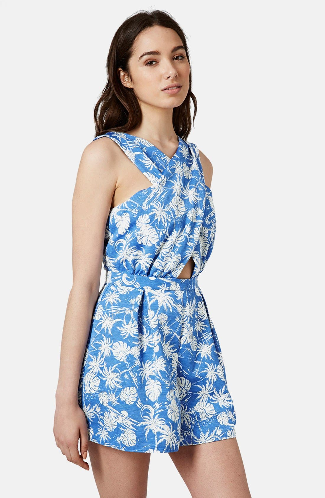 Main Image - Topshop Palm Print Cross Front Romper