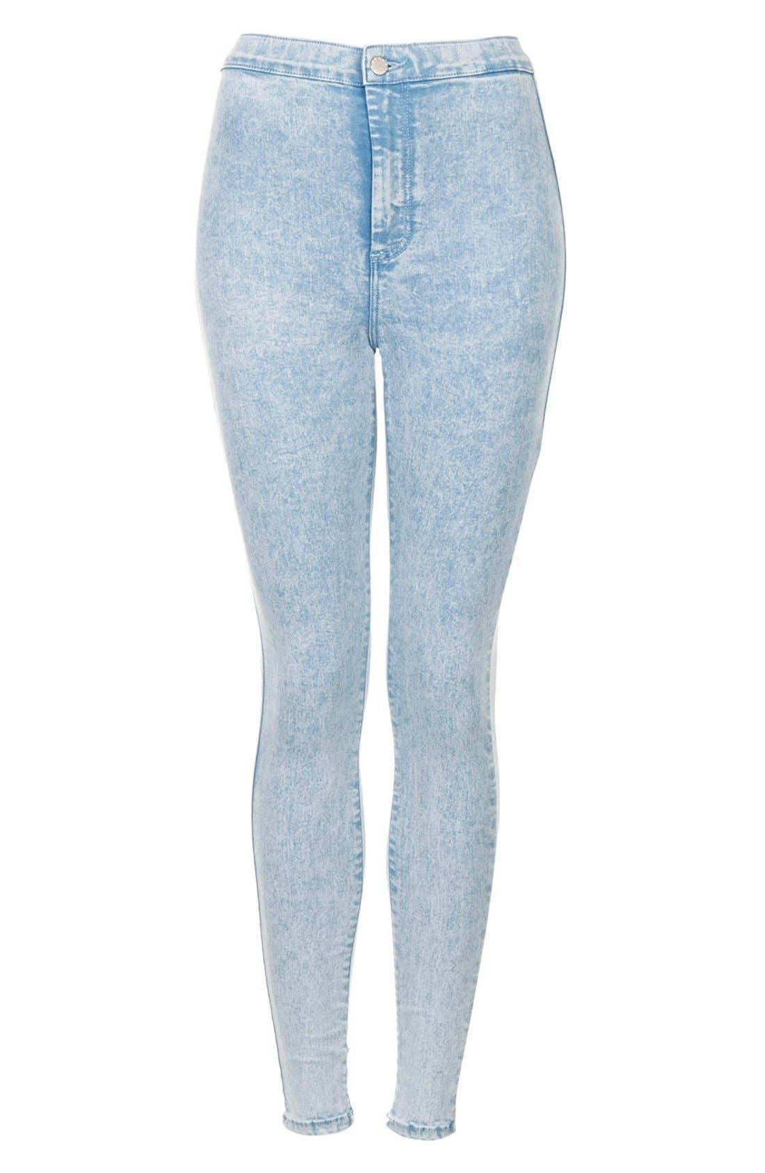 Alternate Image 3  - Topshop Moto 'Joni' Acid Wash High Rise Skinny Jeans (Light) (Regular & Short)