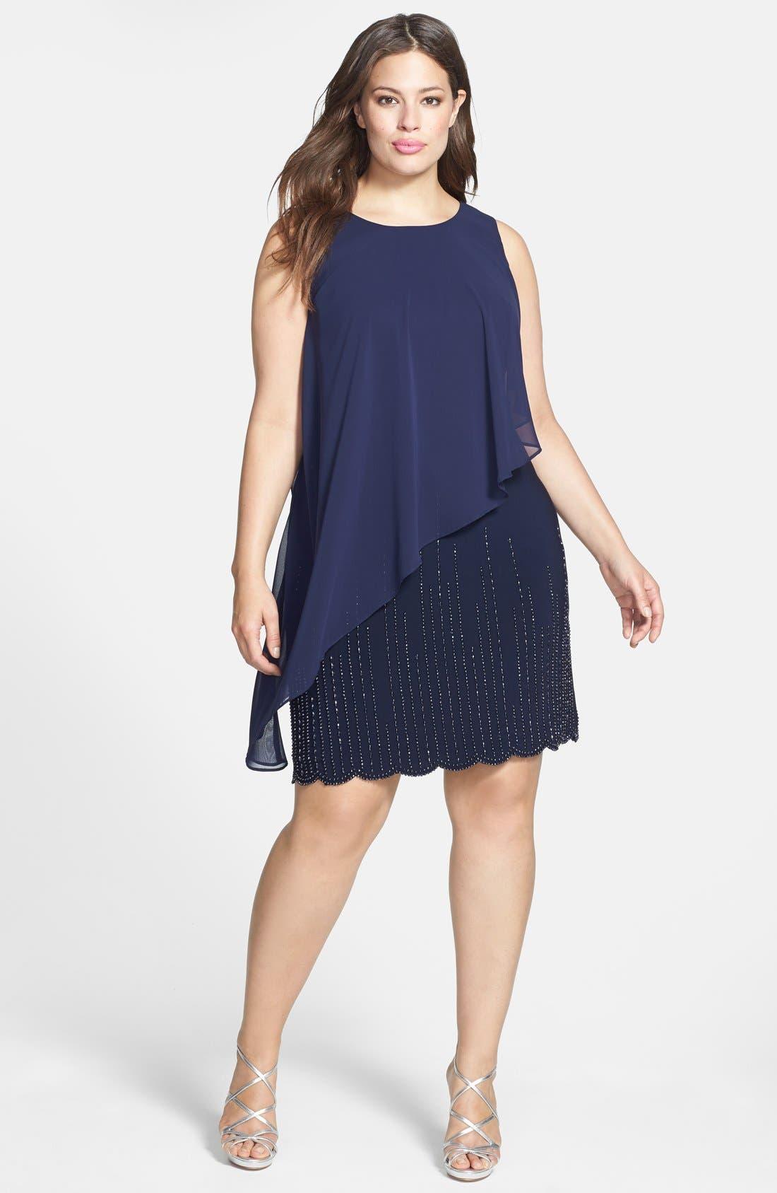 Main Image - Xscape Chiffon Overlay Beaded Hem Dress (Plus Size)