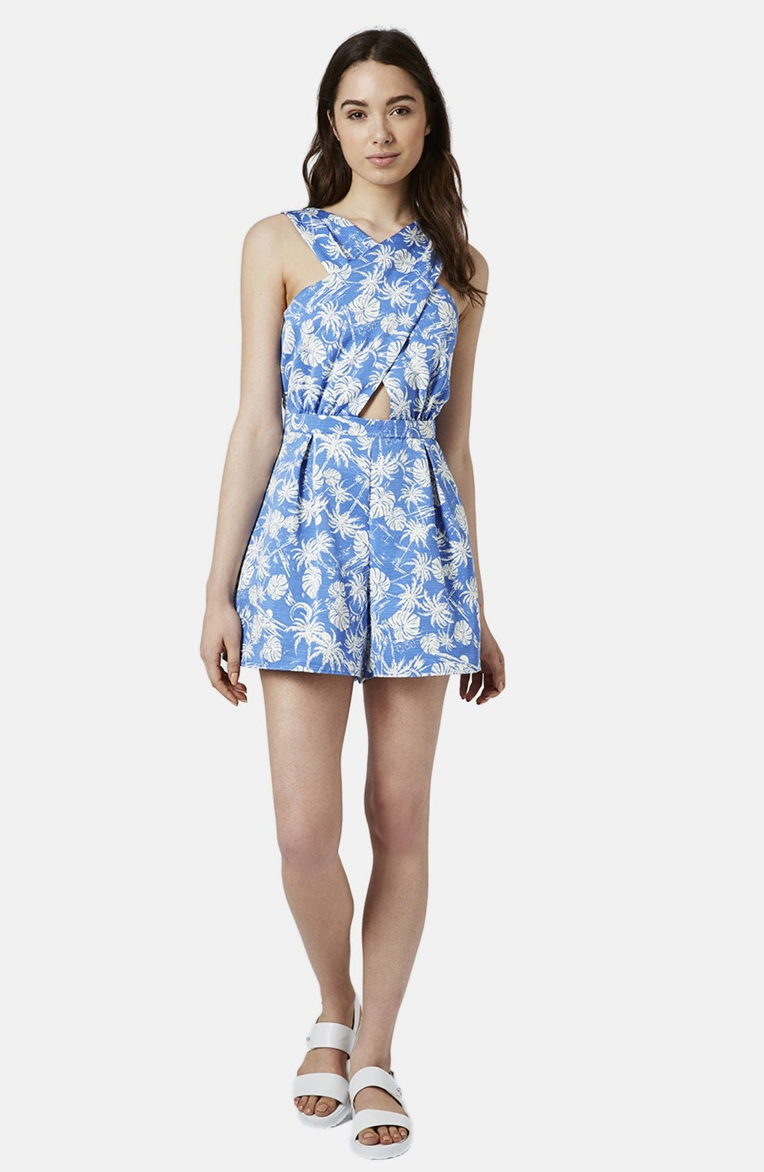 Alternate Image 5  - Topshop Palm Print Cross Front Romper