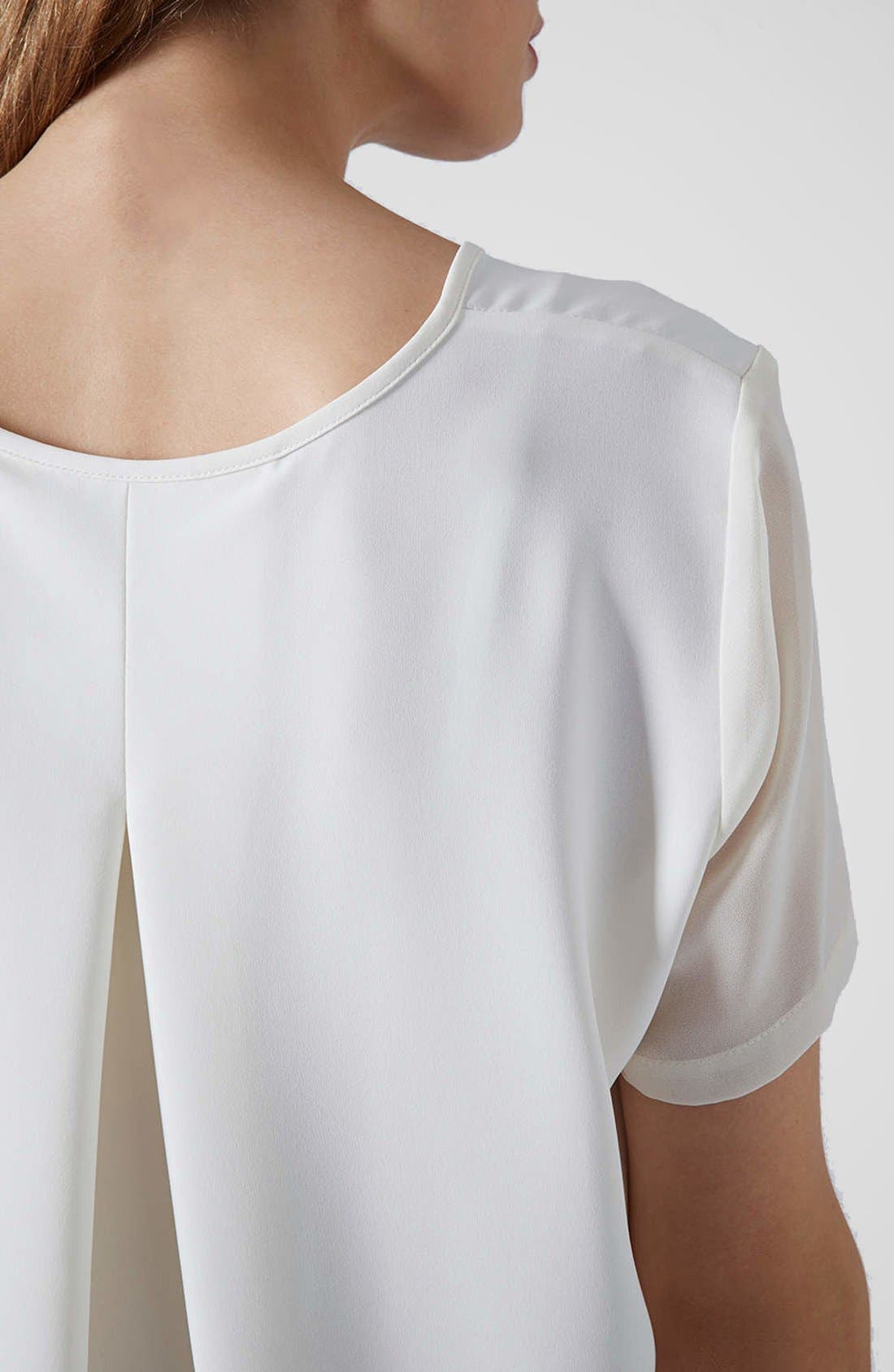 Alternate Image 4  - Topshop Chiffon Sleeve High/Low Top