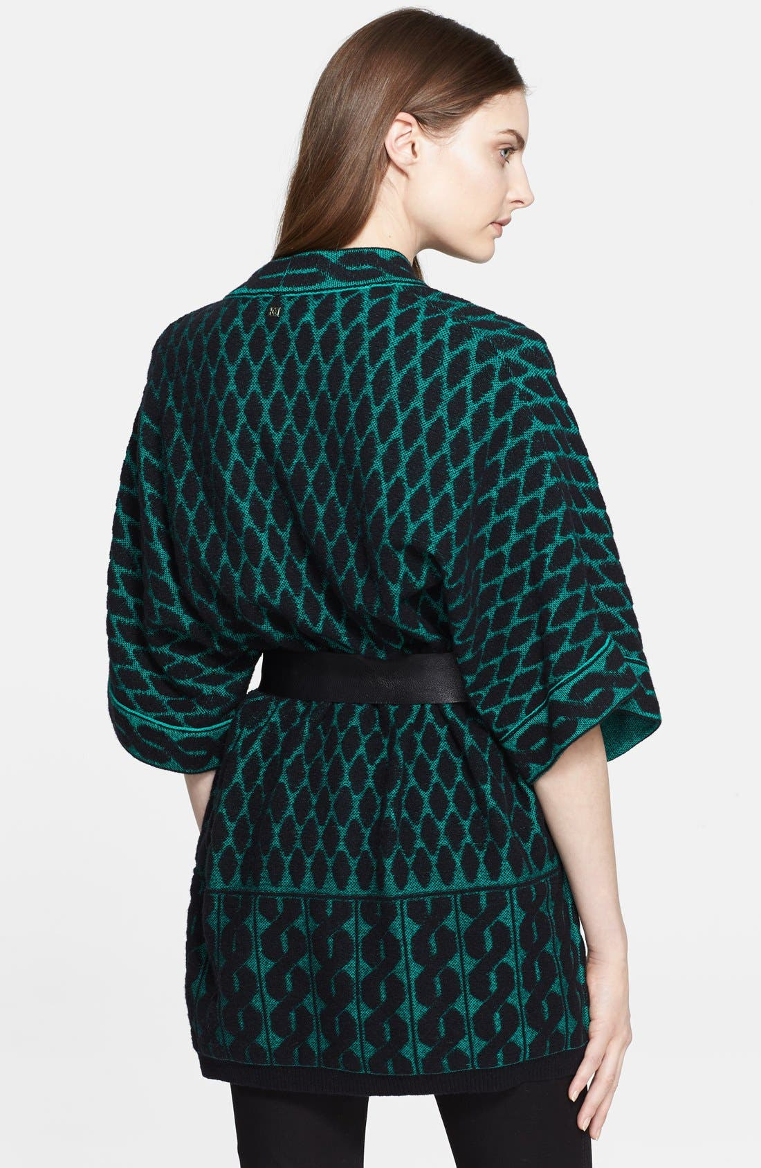 Alternate Image 2  - ESCADA Leather Belted Jacquard Knit Cardigan