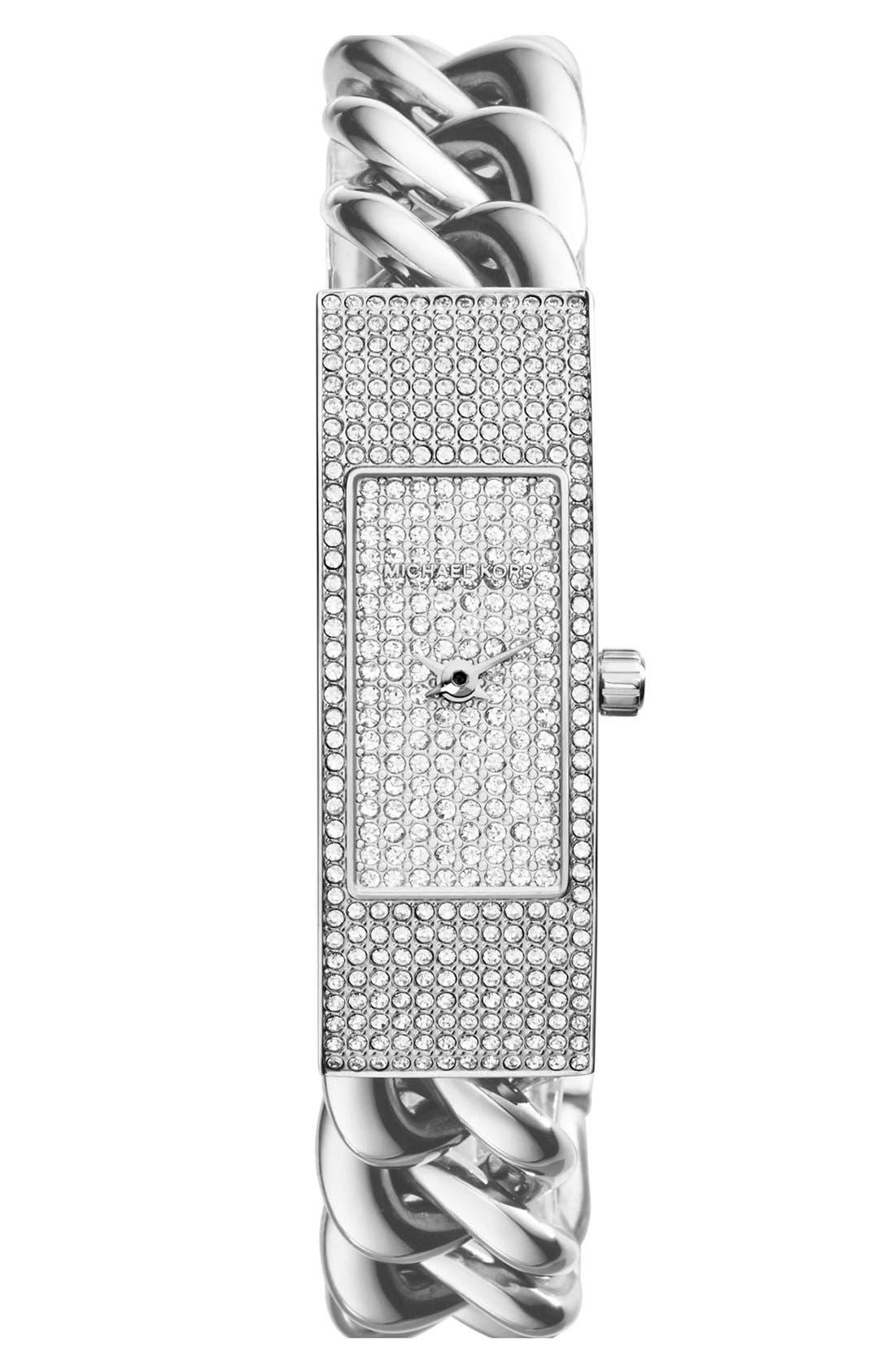 Main Image - Michael Kors 'Hayden' Pavé Crystal Chain Link Bracelet Watch, 16mm