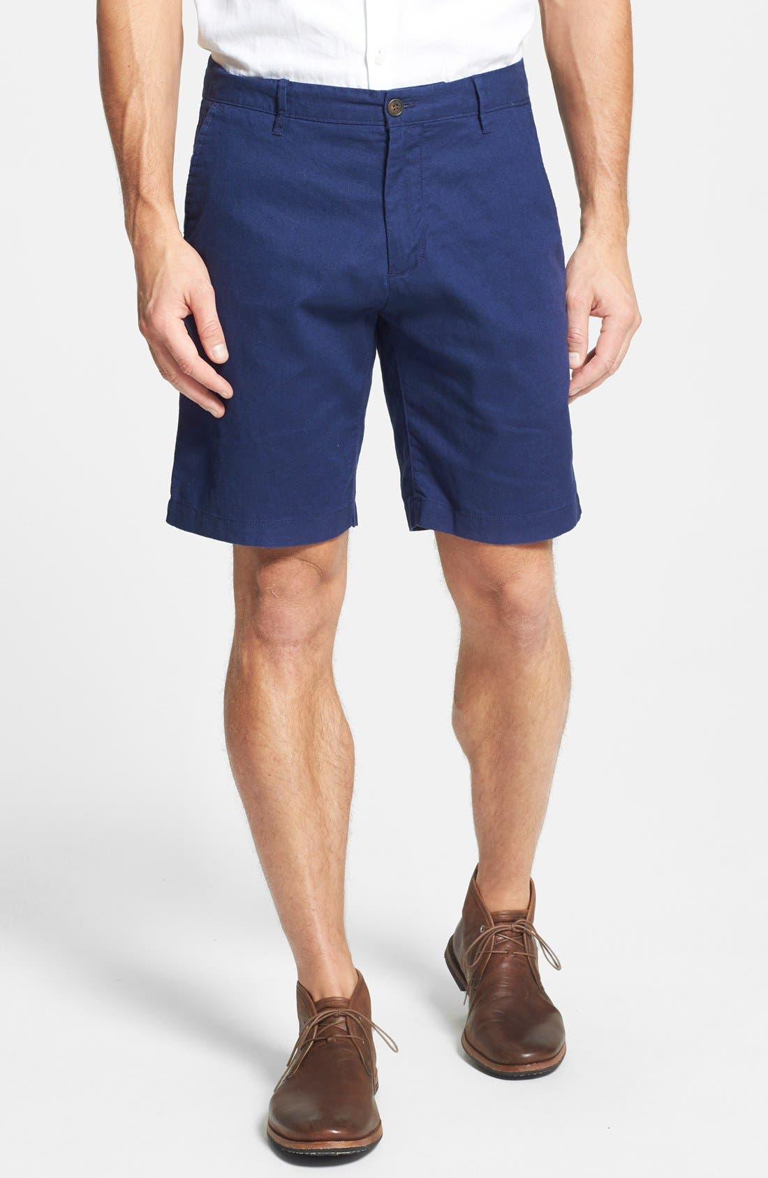 Main Image - Bonobos 'Kennedy' Flat Front Cotton & Linen Shorts