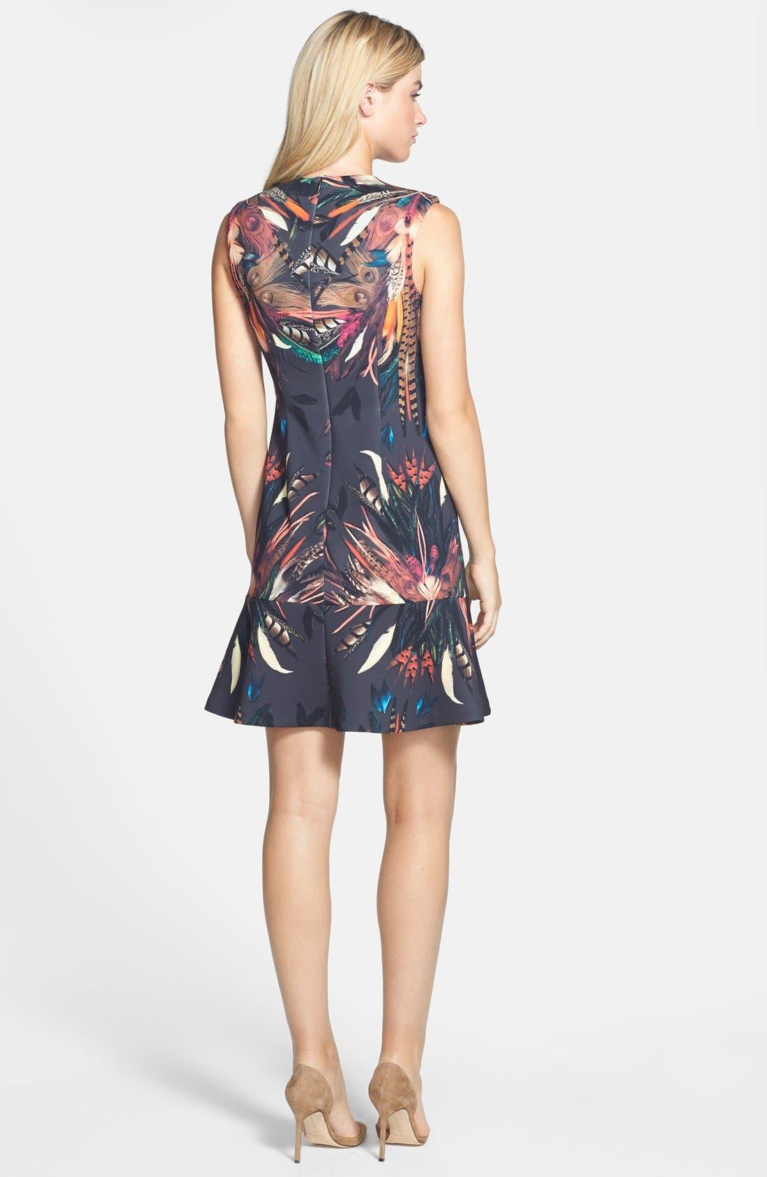 Alternate Image 2  - Nicole Miller 'Tail Feather' Print Neoprene Fit & Flare Dress