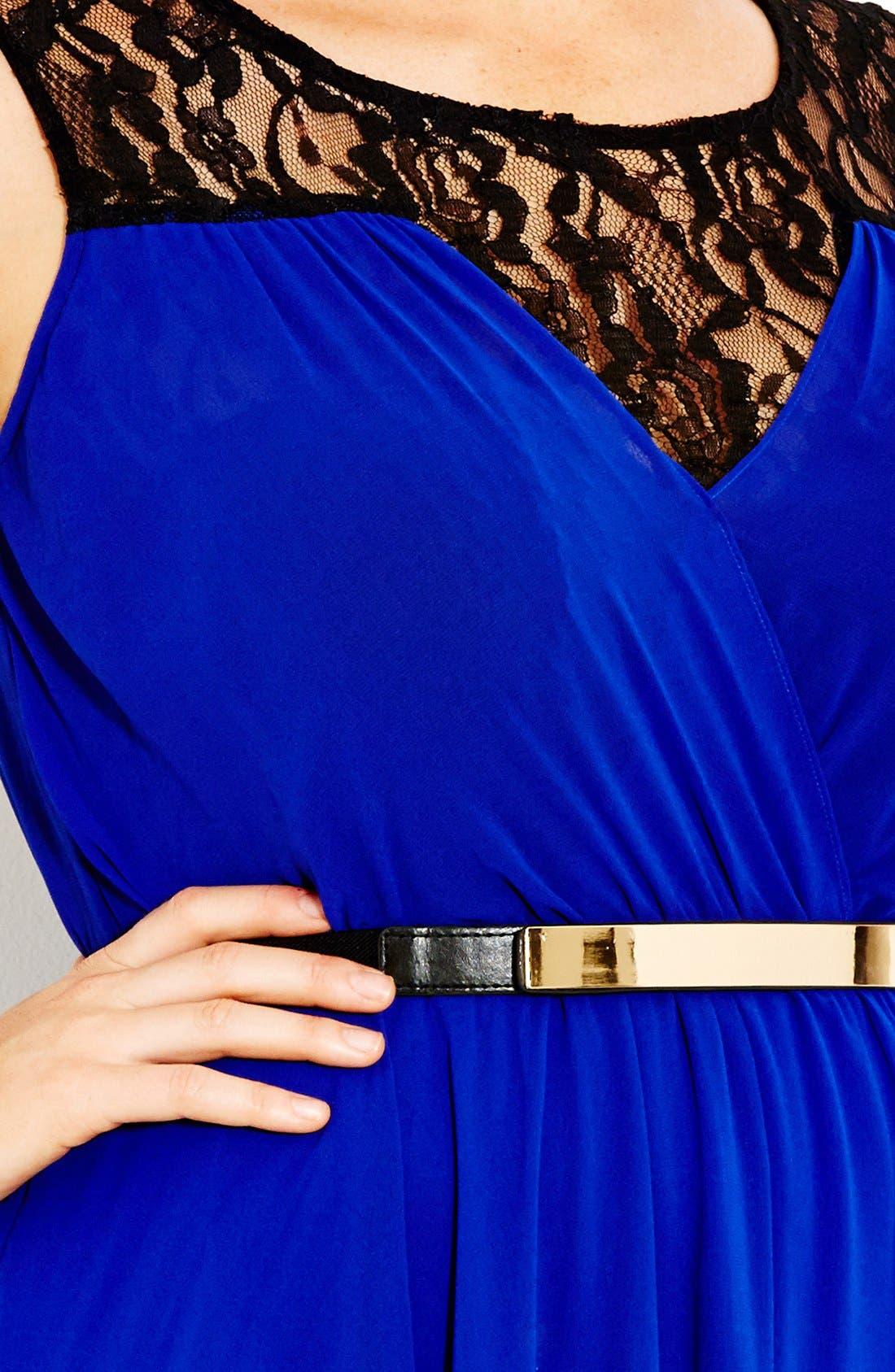 Alternate Image 3  - City Chic Chiffon & Lace Keyhole Dress (Plus Size)
