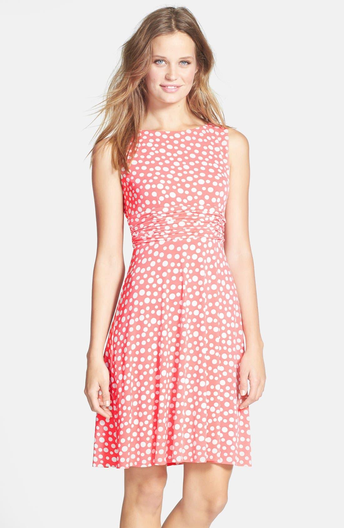 Main Image - Eliza J Polka Dot Jersey Fit & Flare Dress (Petite)