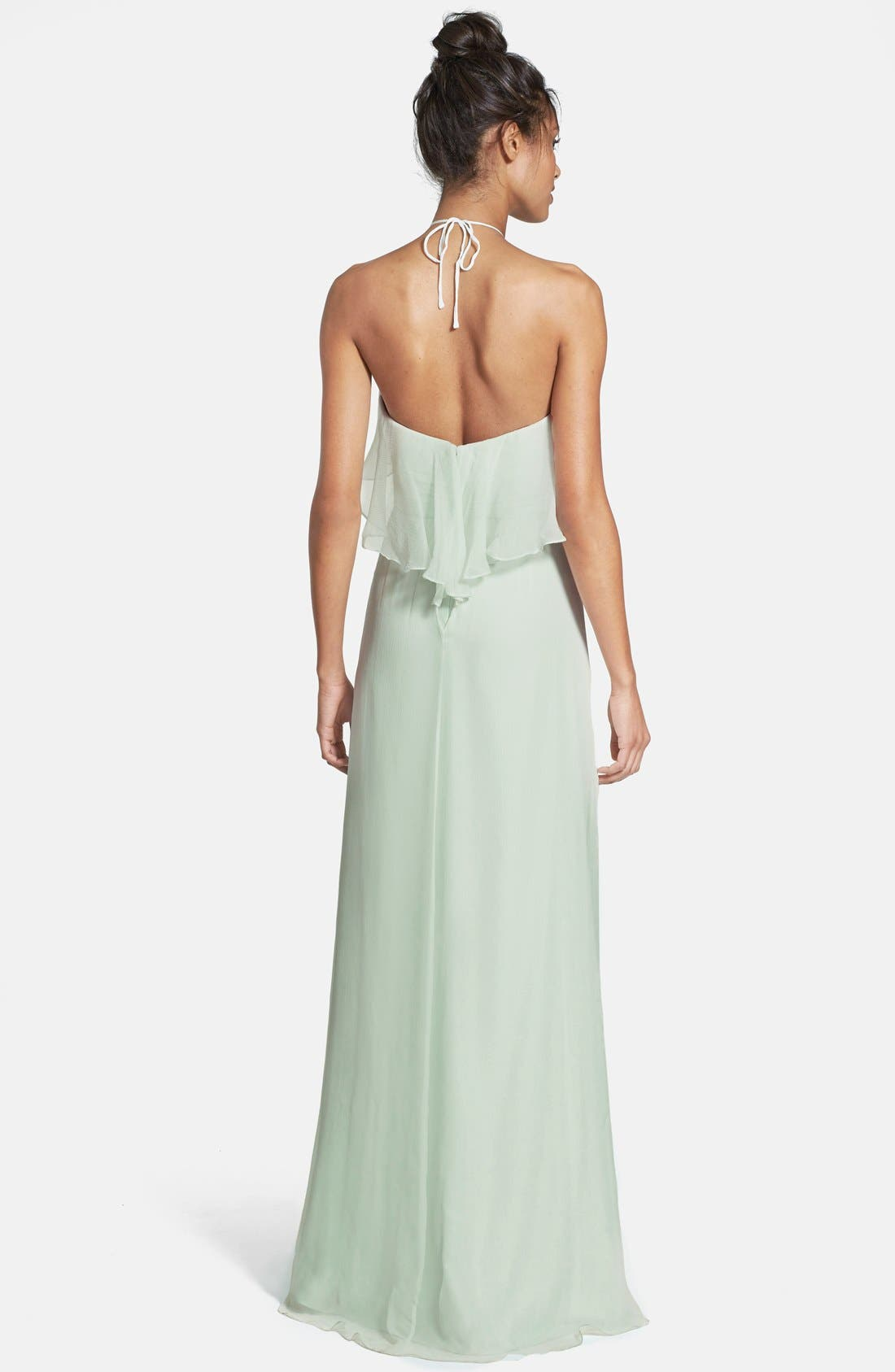 Alternate Image 2  - Amsale Ruffle Crinkled Silk Chiffon Halter Gown