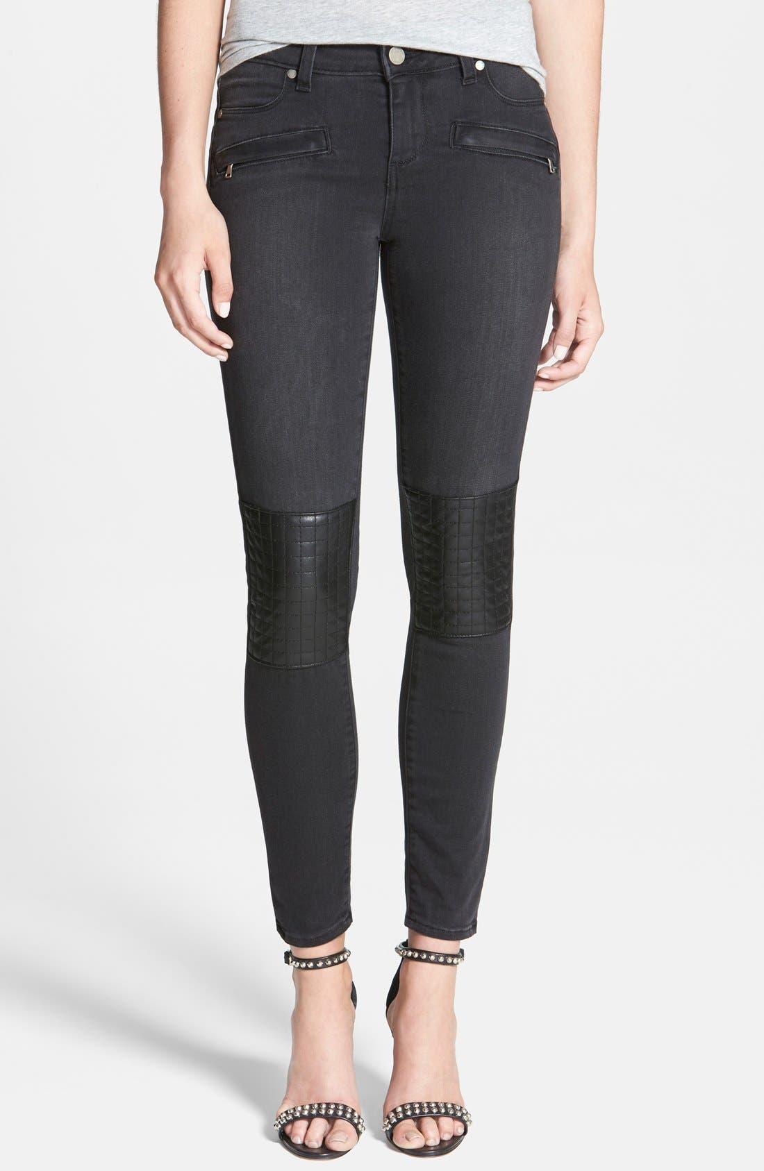 Main Image - Paige Denim 'Harlem' Leather Detail Ultra Skinny Jeans (Moscow No Whiskers)