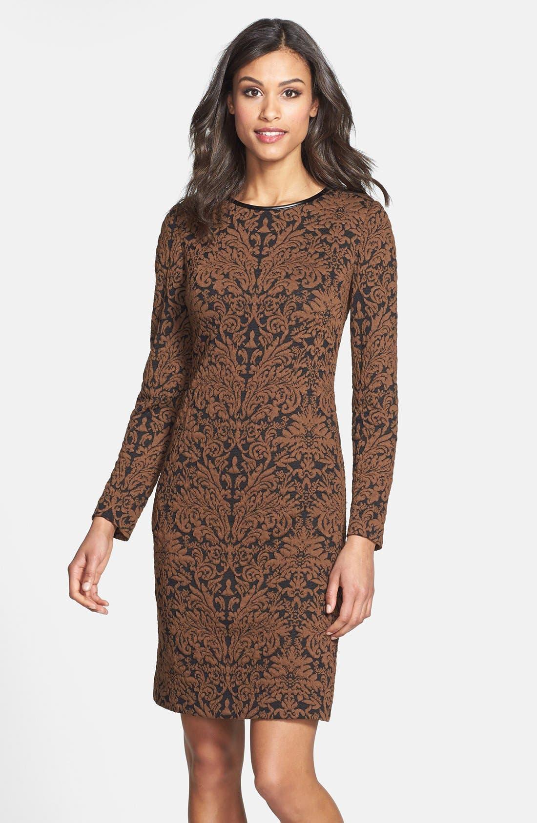 Main Image - Vince Camuto Long Sleeve Jacquard Sheath Dress (Regular & Petite)