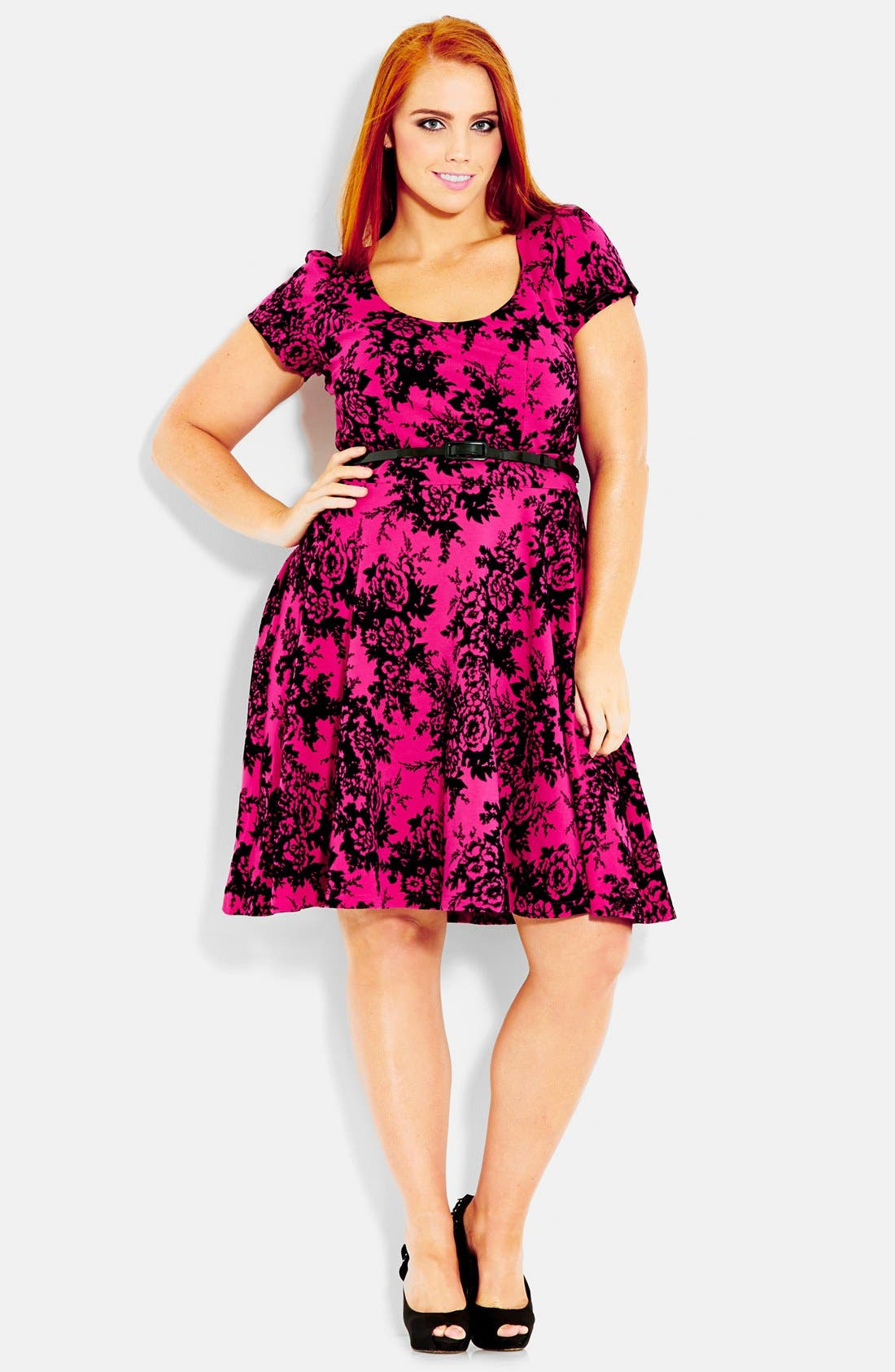 Alternate Image 1 Selected - City Chic Flocked Fit & Flare Dress (Plus Size)