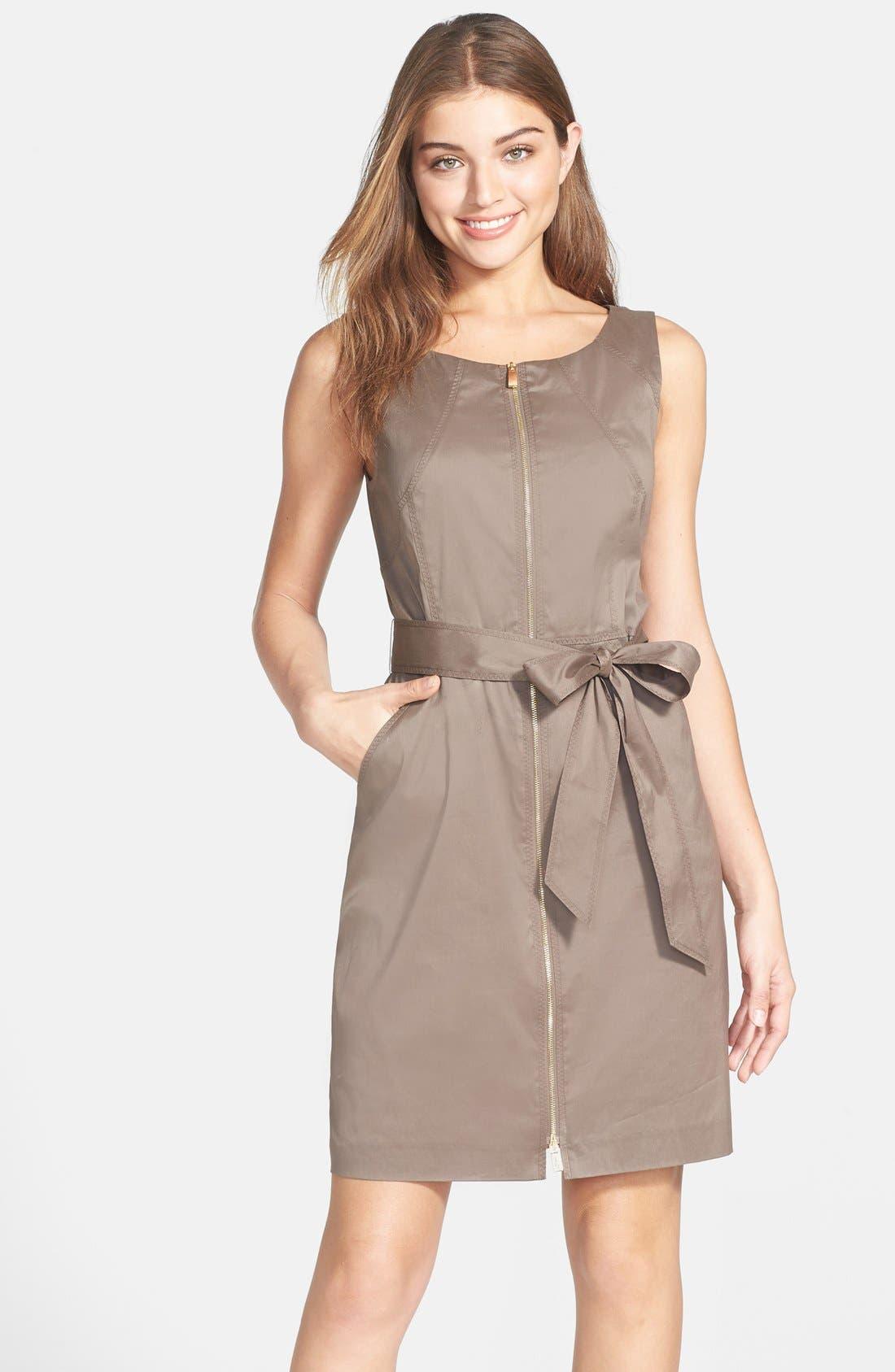 Main Image - Vince Camuto Zip Front Cotton Blend Sheath Dress