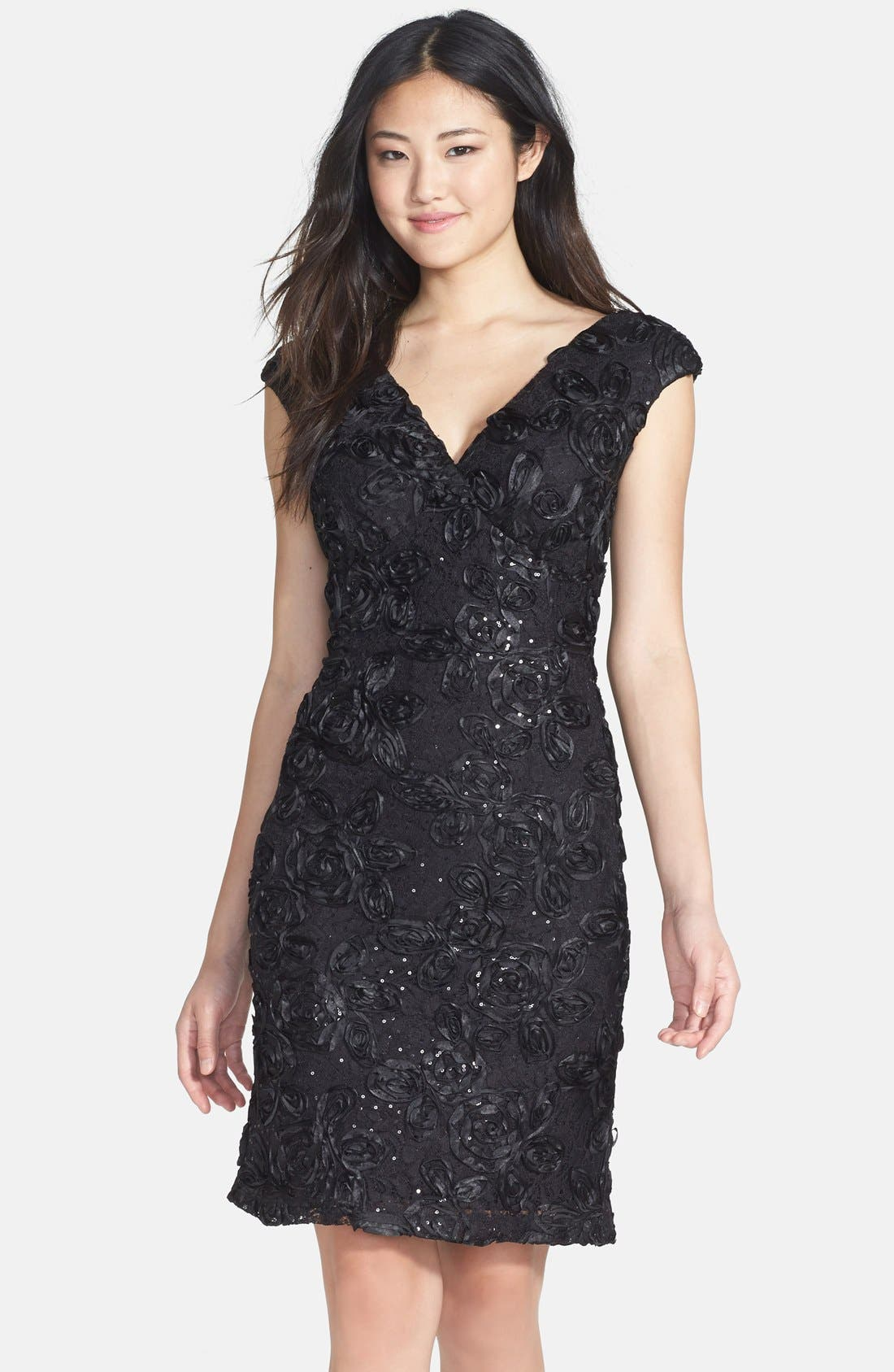 Main Image - Marina Embellished Lace Sheath Dress