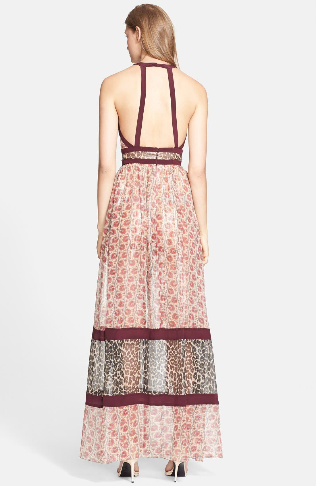 Alternate Image 2  - Tamara Mellon Banded Metallic Silk Blend Georgette Gown