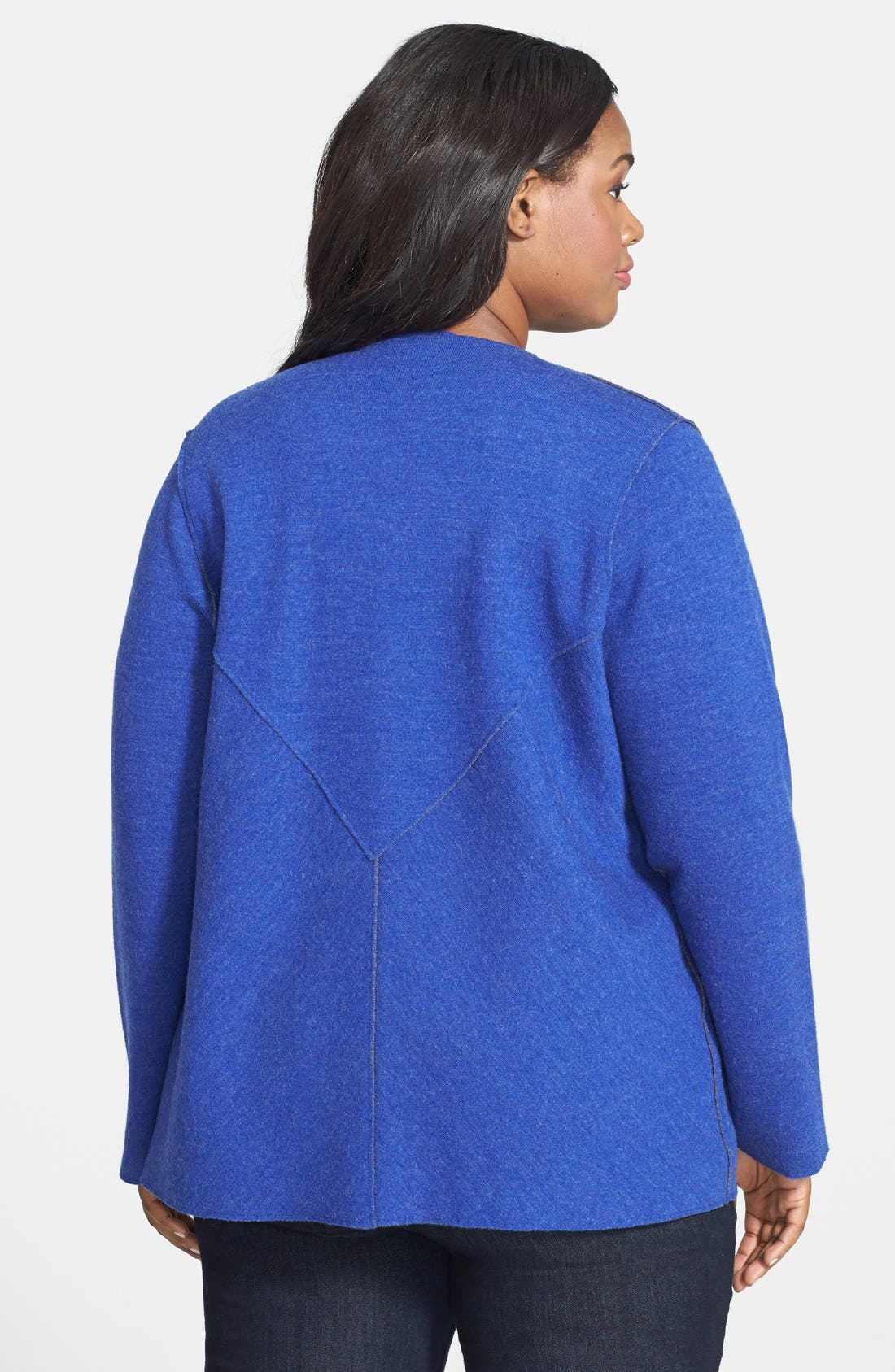 Alternate Image 2  - Eileen Fisher Double Knit Merino Blend Shaped Cardigan (Plus Size)
