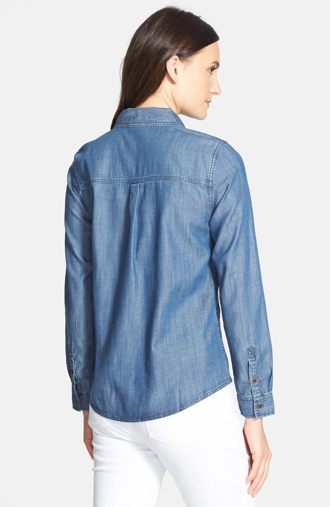 Alternate Image 2  - Eileen Fisher Classic Collar Denim Chambray Shirt (Petite)