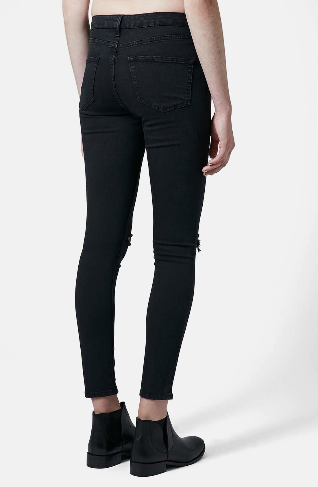 Alternate Image 2  - Topshop Moto 'Jamie' Dark Wash Ripped Slim Jeans (Black) (Short & Regular)