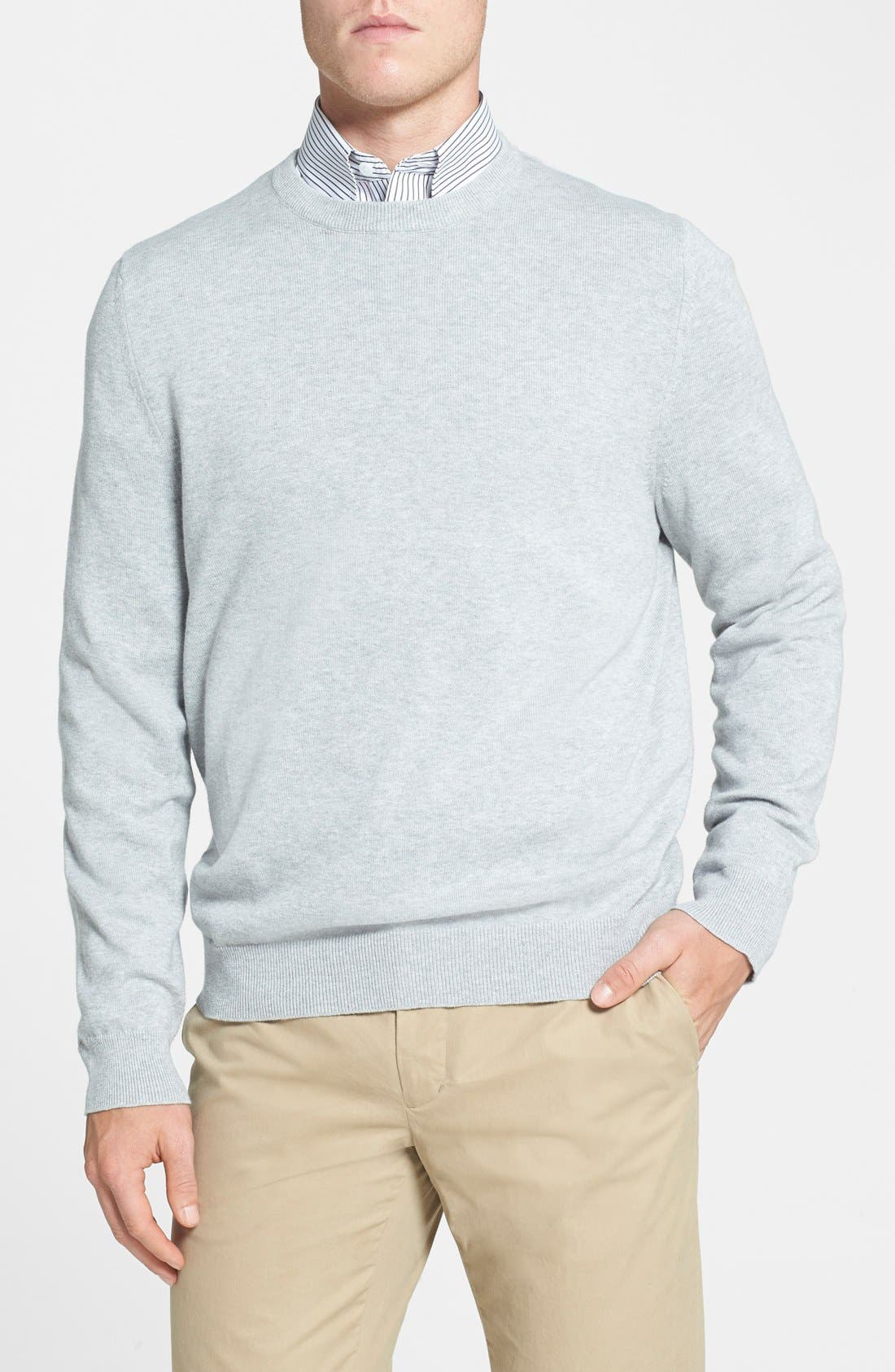 Alternate Image 1 Selected - Nordstrom Men's Shop Cotton & Cashmere Crewneck Sweater (Regular & Tall)