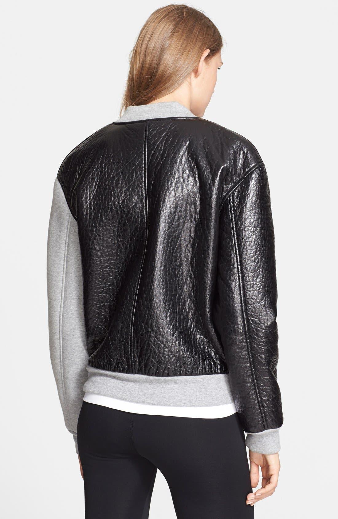 Alternate Image 2  - T by Alexander Wang Leather & Neoprene Varsity Jacket