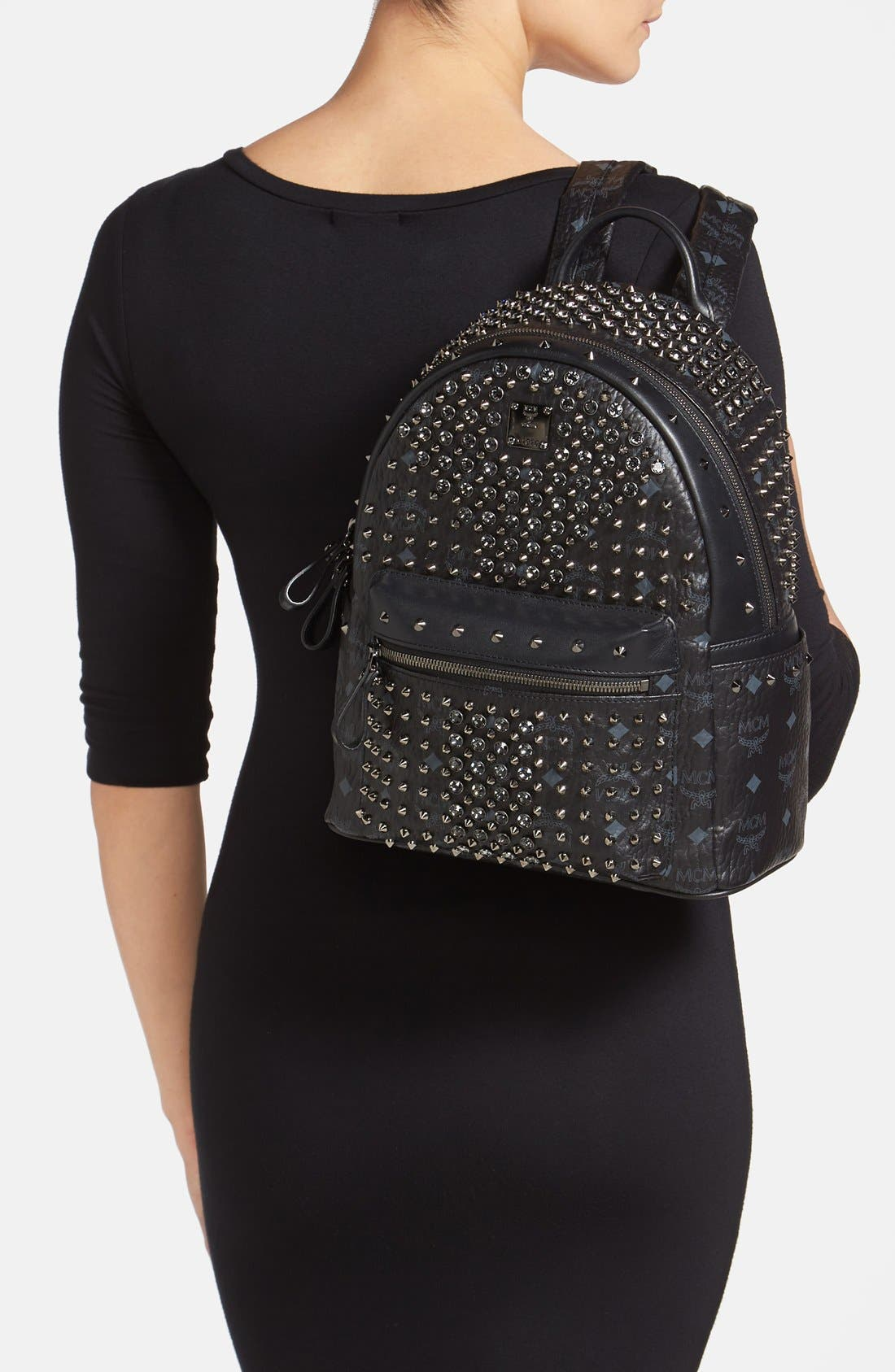 Alternate Image 2  - MCM 'Studded - Small' Coated Canvas Backpack